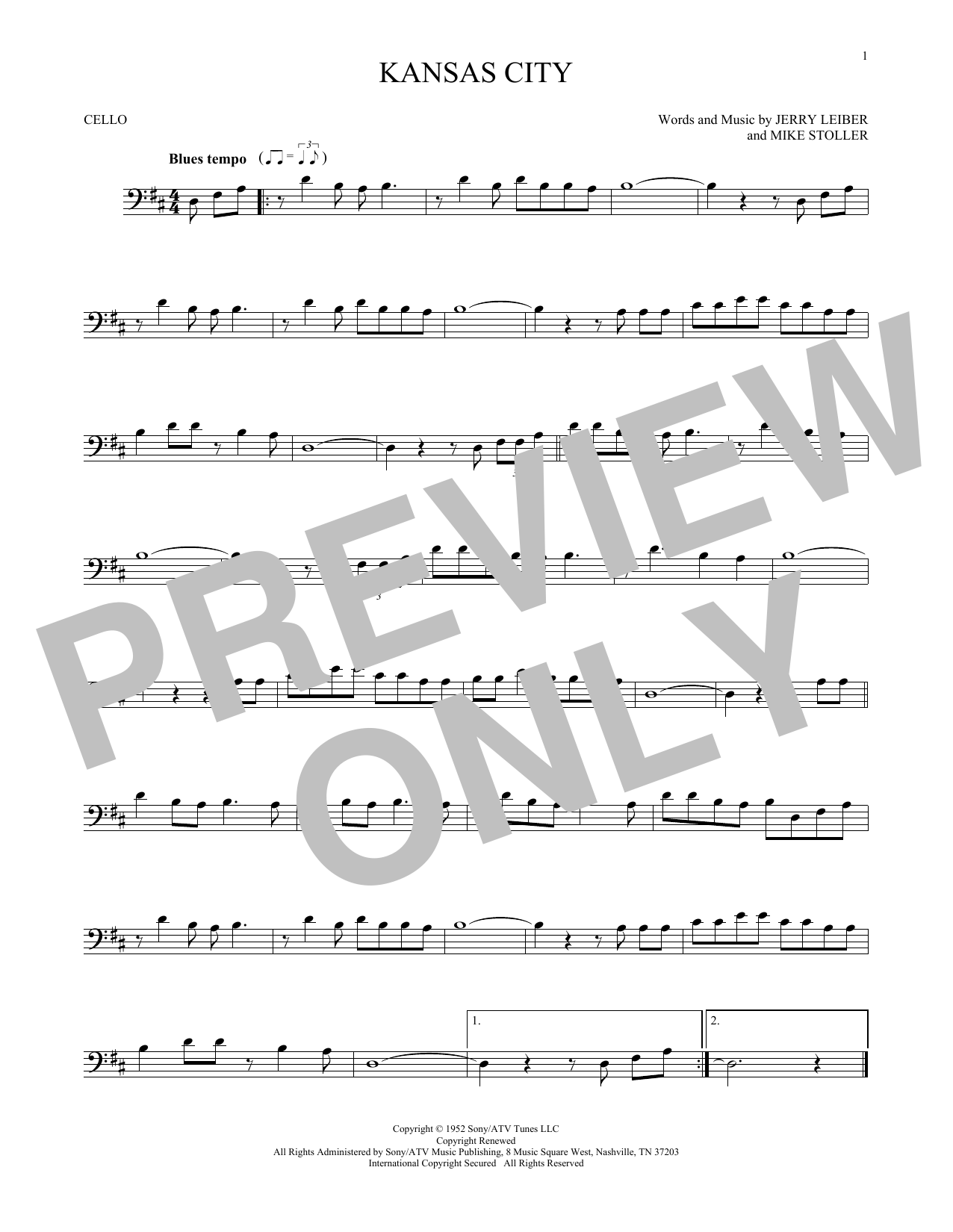 Partition autre Kansas City de Jerry Lieber & Mike Stoller - Violoncelle