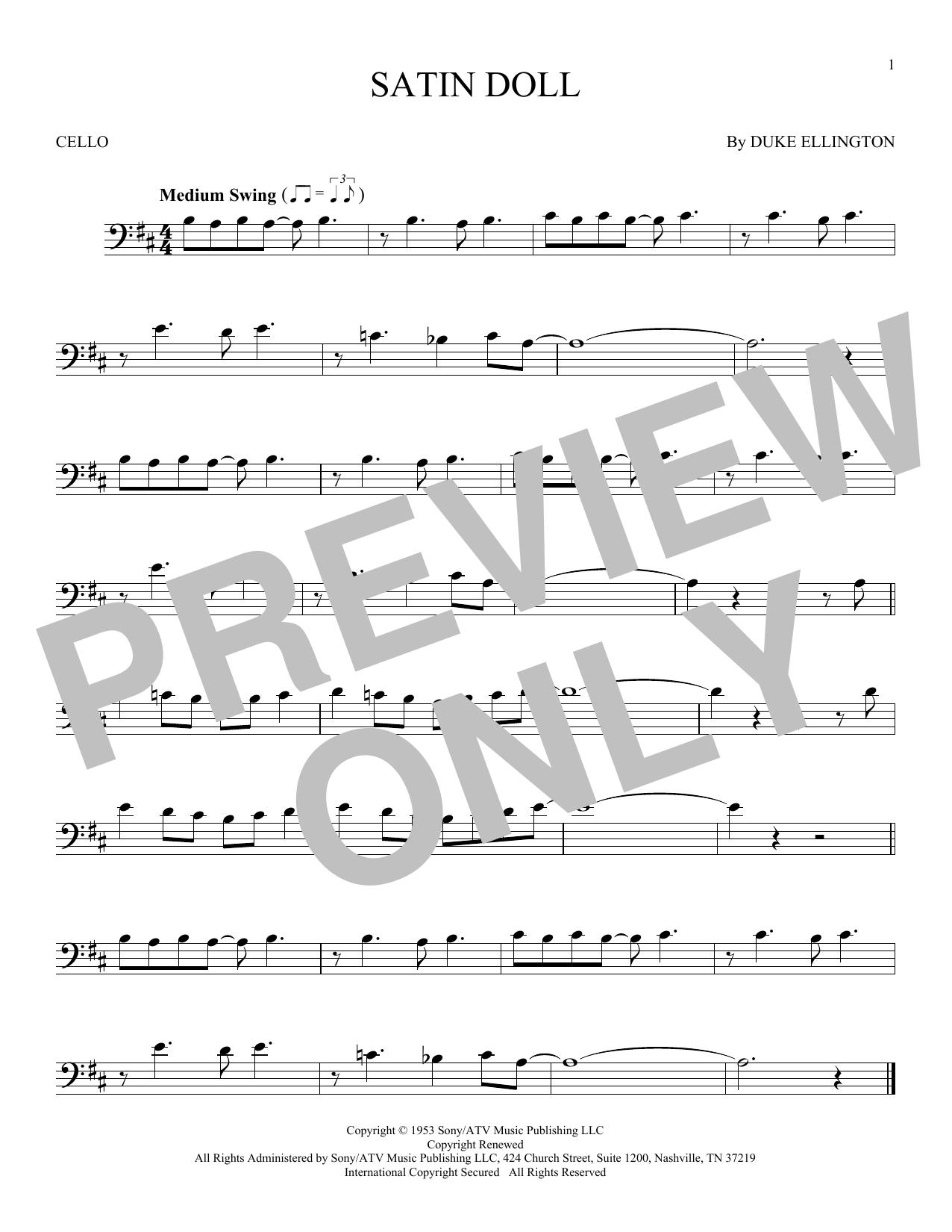 Partition autre Satin Doll de Duke Ellington - Violoncelle