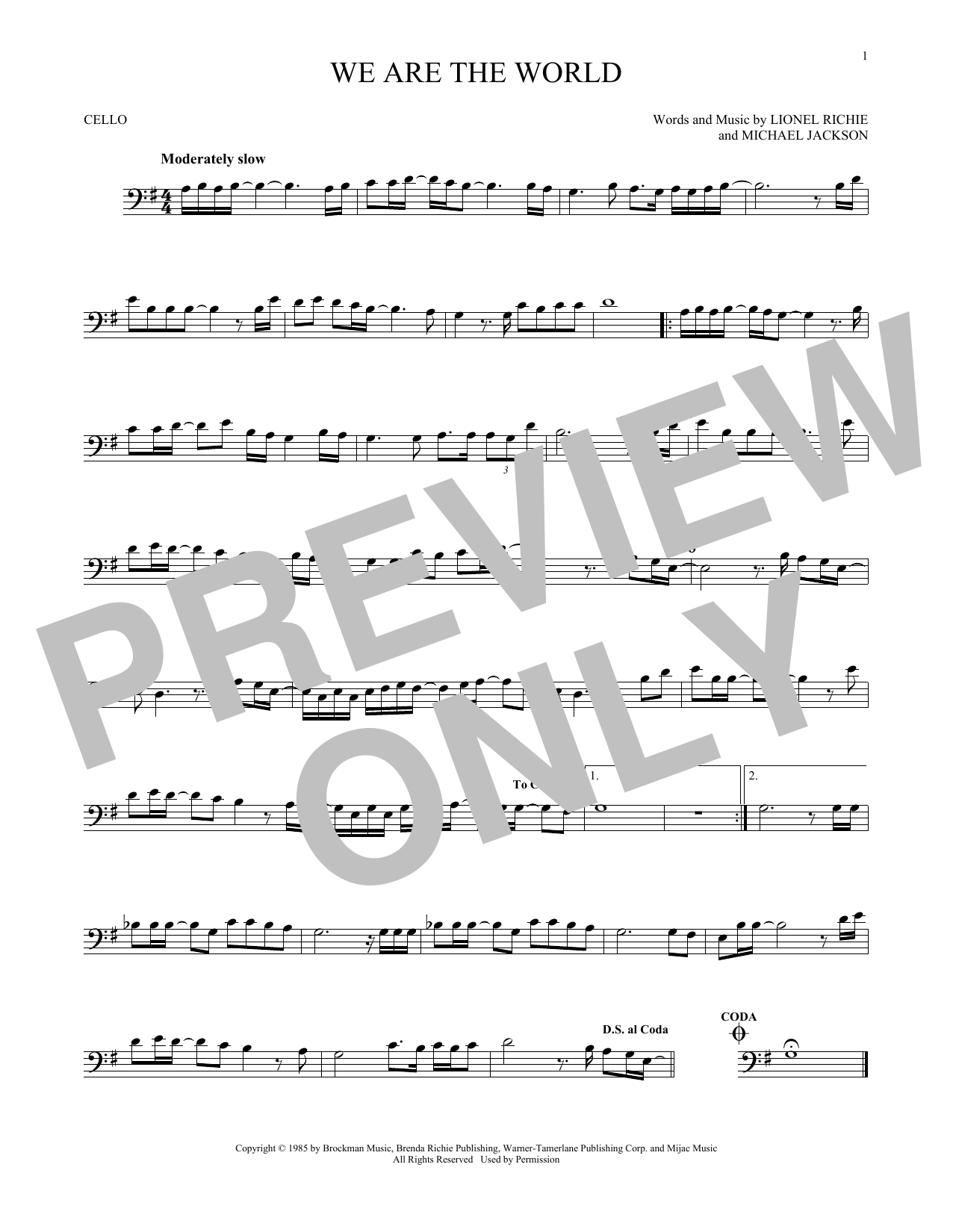 Partition autre We Are The World de USA For Africa - Violoncelle