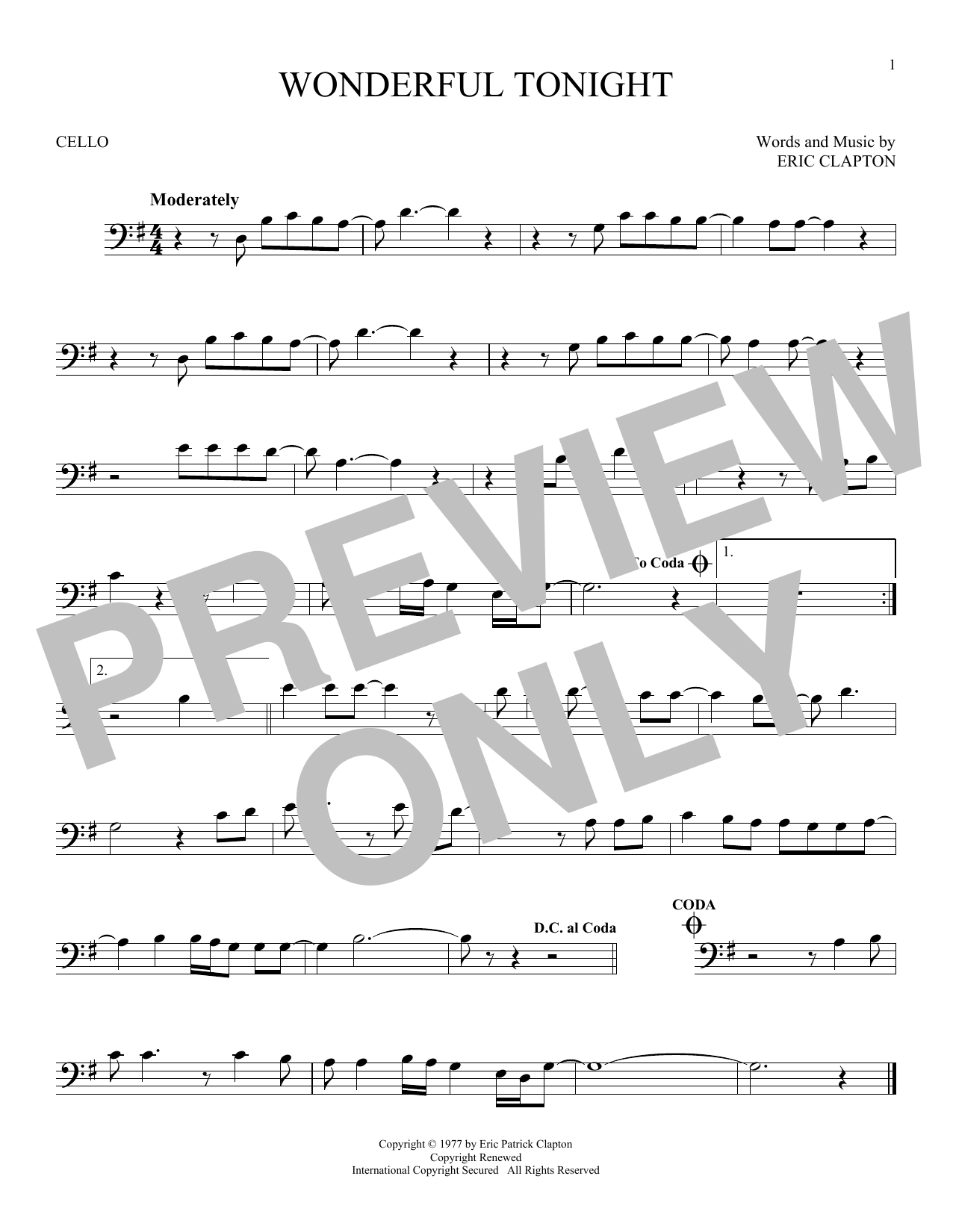 Wonderful Tonight Sheet Music