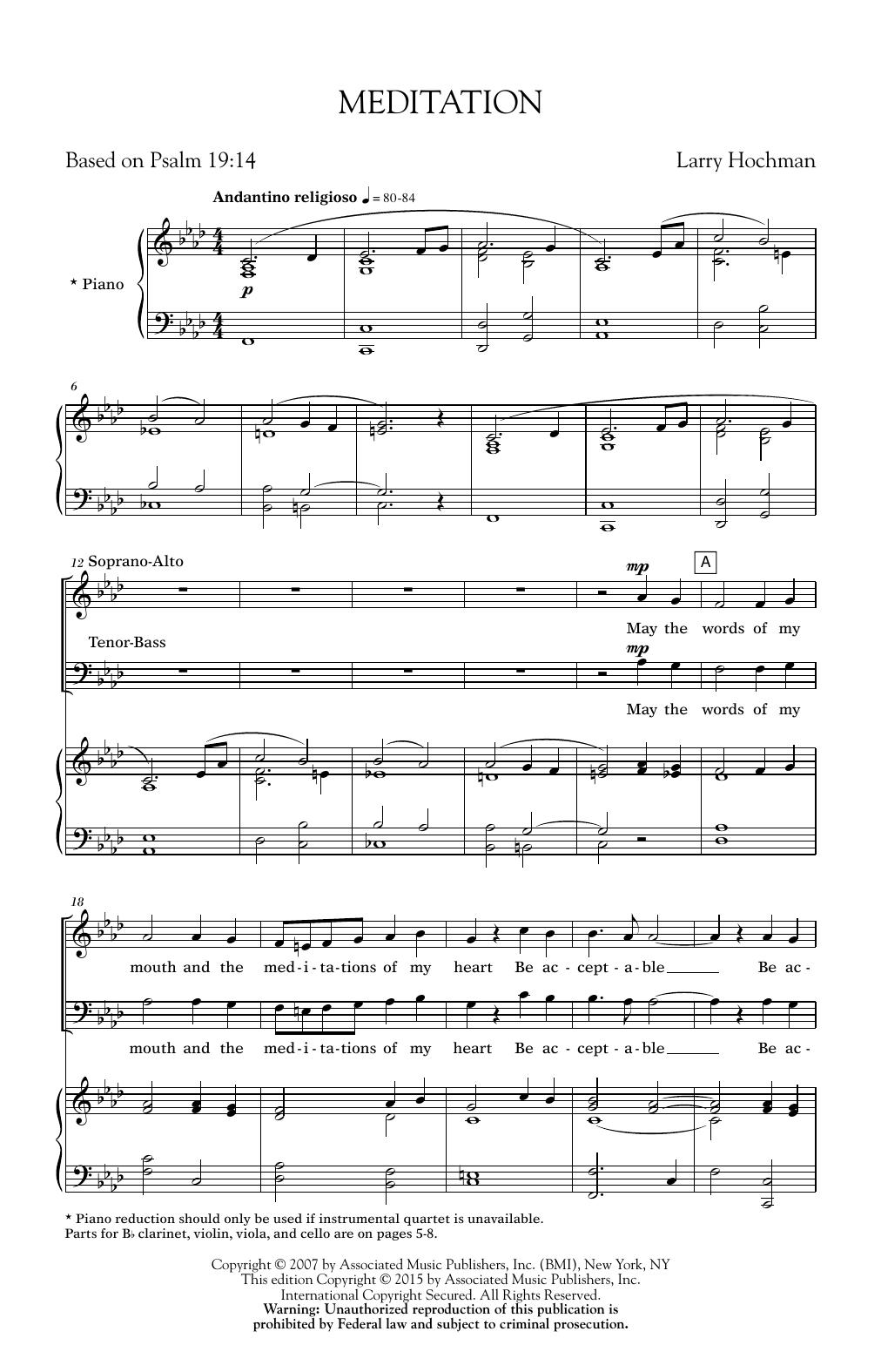 Partition chorale Meditation de Larry Hochman - SATB