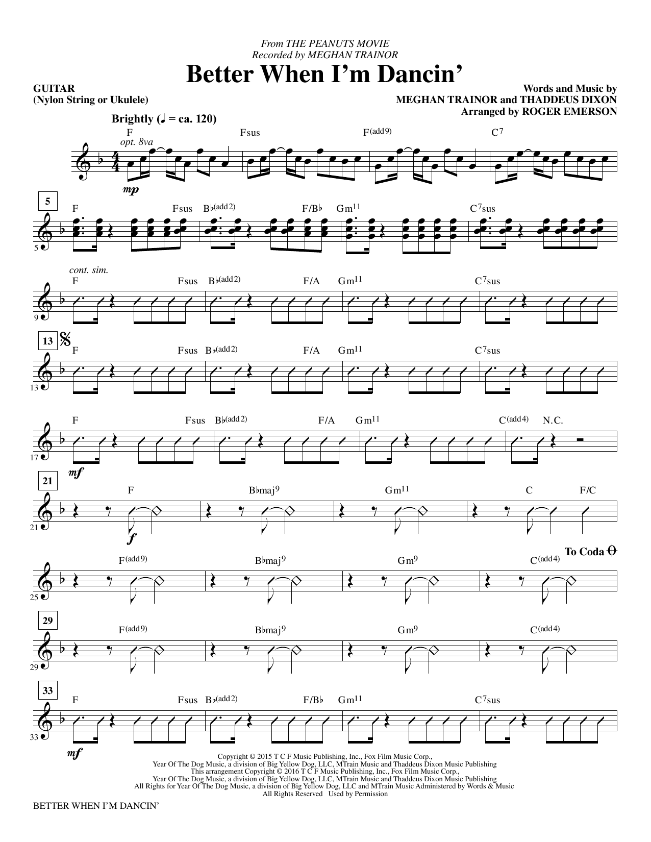 Better When I'm Dancin' (complete set of parts) sheet music for orchestra/band by Roger Emerson and Meghan Trainor. Score Image Preview.