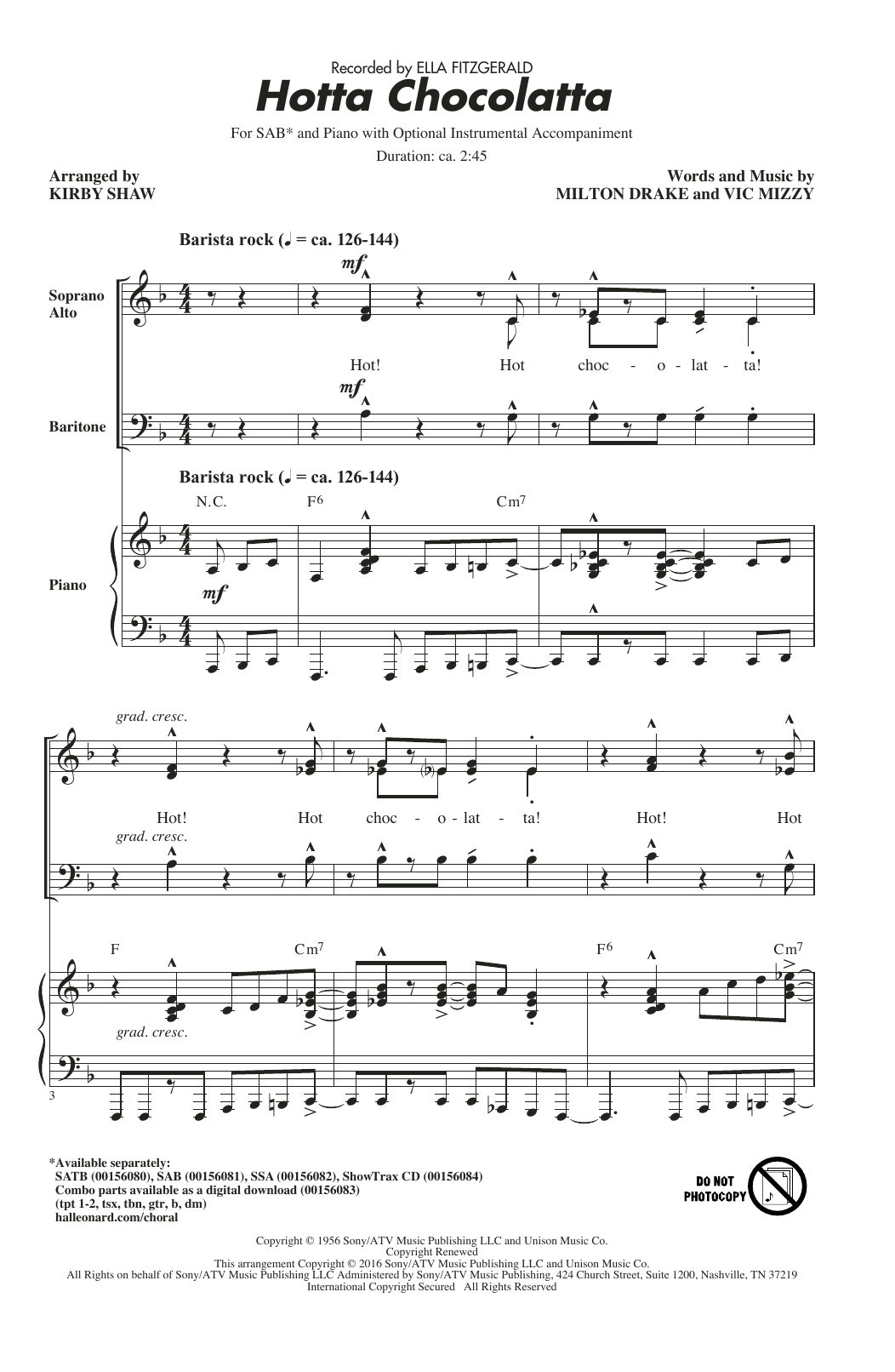 Hotta Chocolatta (arr. Kirby Shaw) Sheet Music