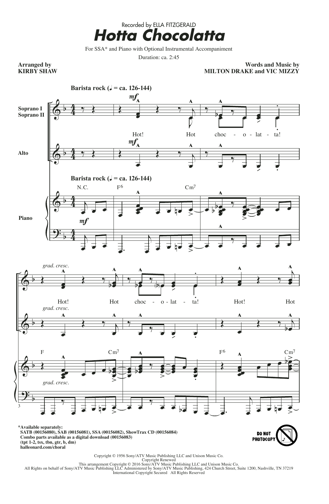 Hotta Chocolatta Sheet Music