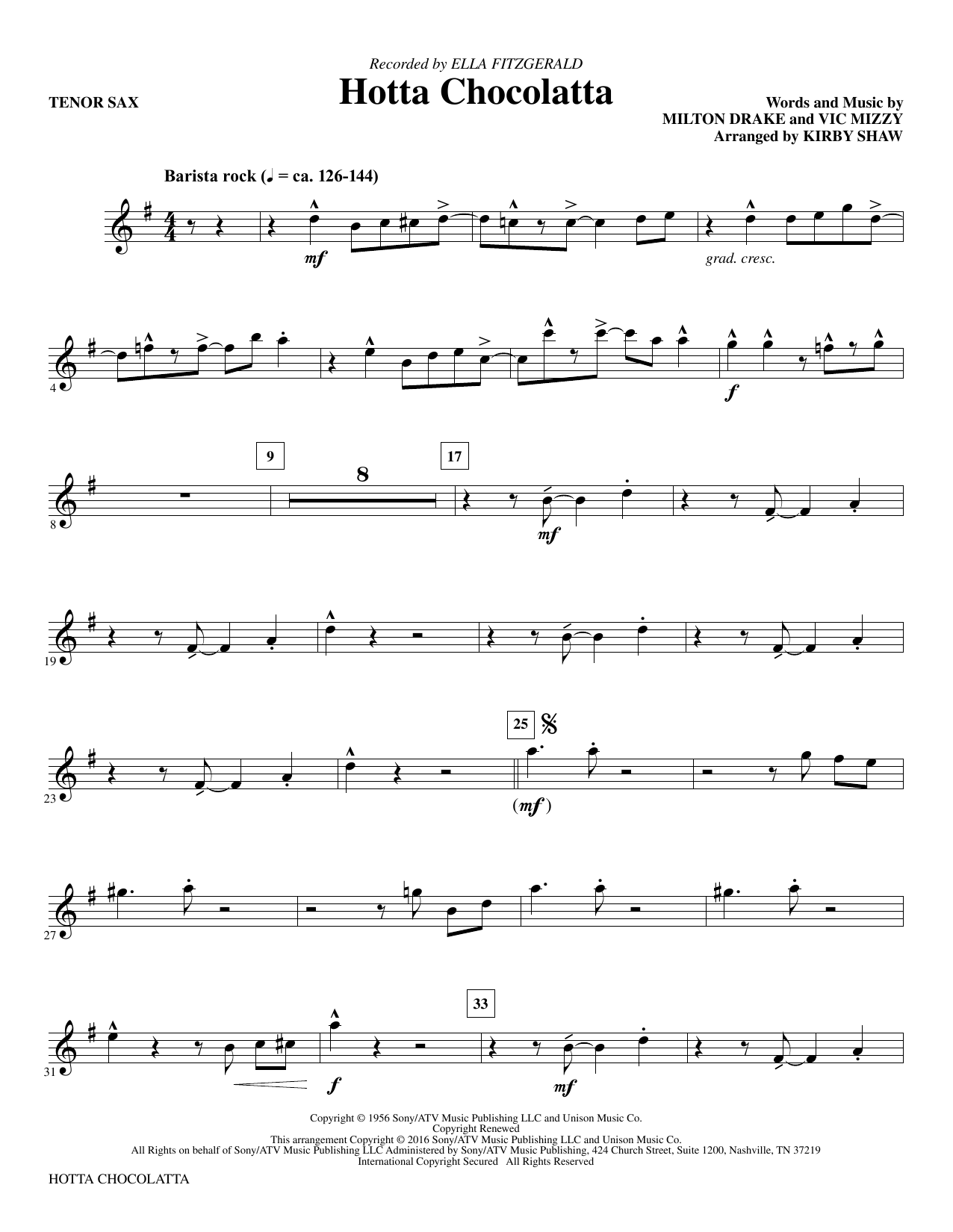 Hotta Chocolatta - Bb Tenor Saxophone (Choir Instrumental Pak)