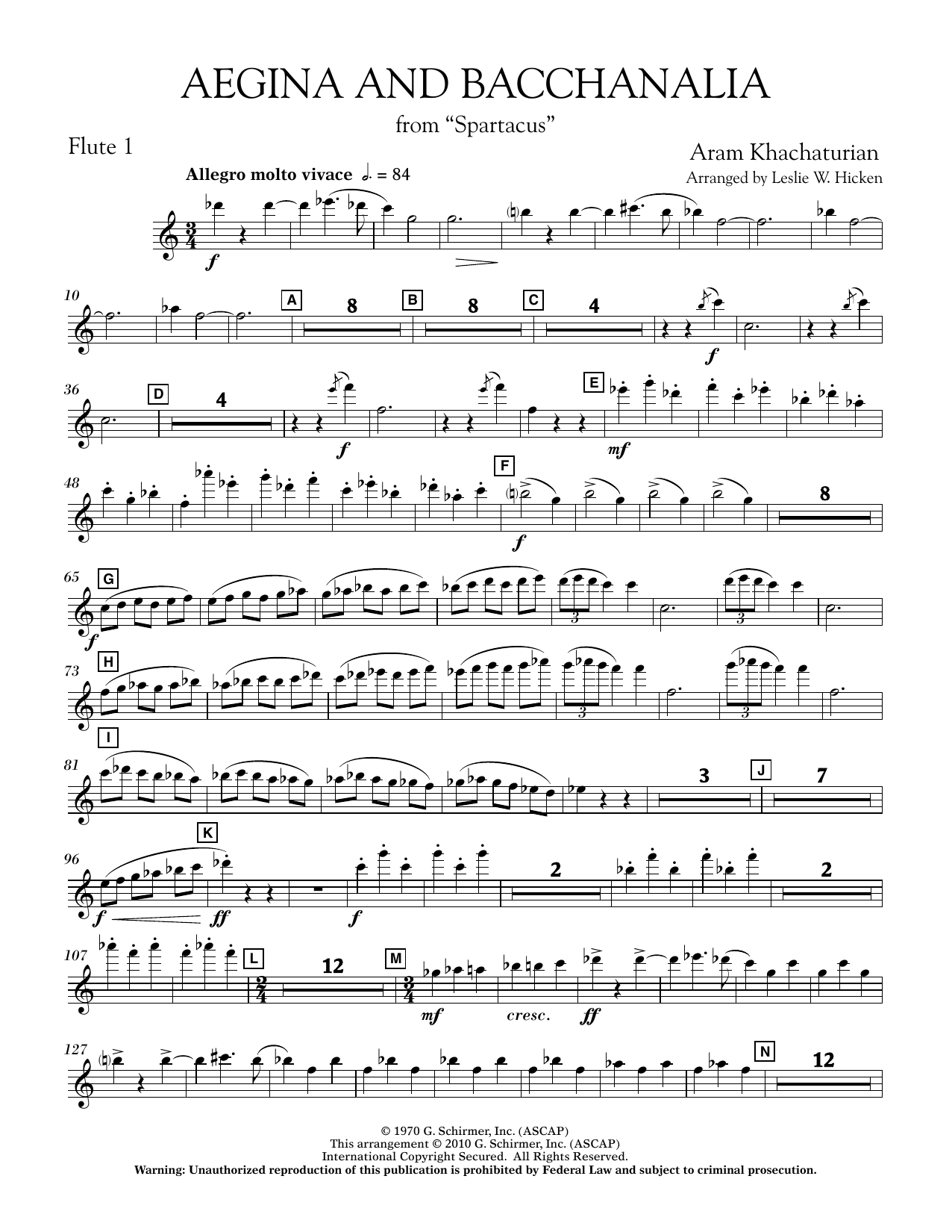 Aegina and Bacchanalia (from Spartacus) - Flute 1 (Concert Band)