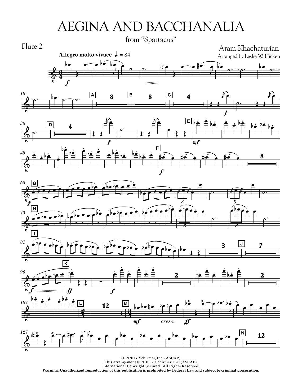 Aegina and Bacchanalia (from Spartacus) - Flute 2 (Concert Band)