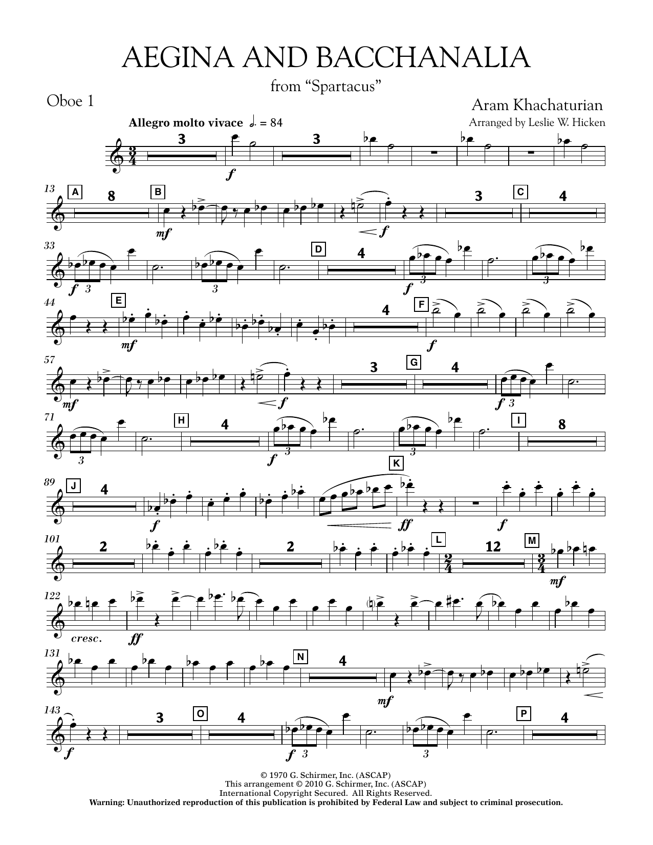 Aegina and Bacchanalia (from Spartacus) - Oboe 1 (Concert Band)