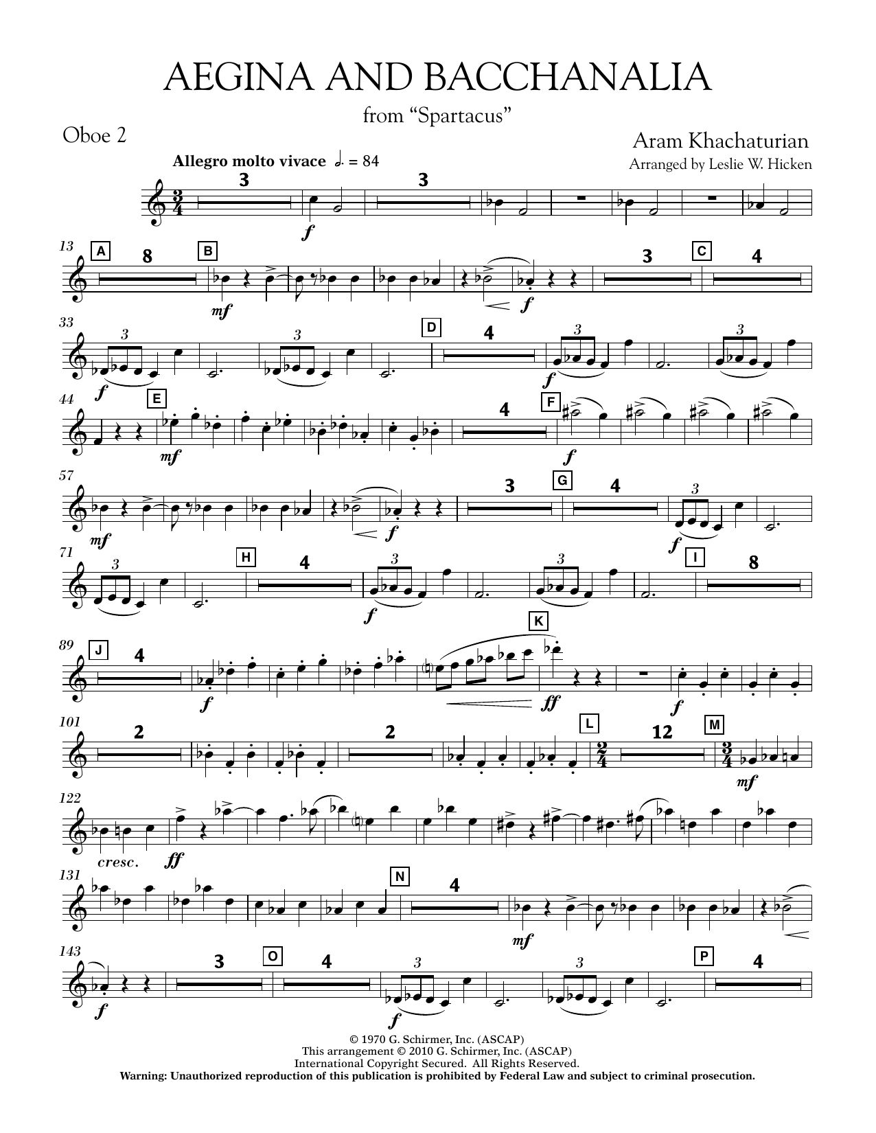 Aegina and Bacchanalia (from Spartacus) - Oboe 2 (Concert Band)