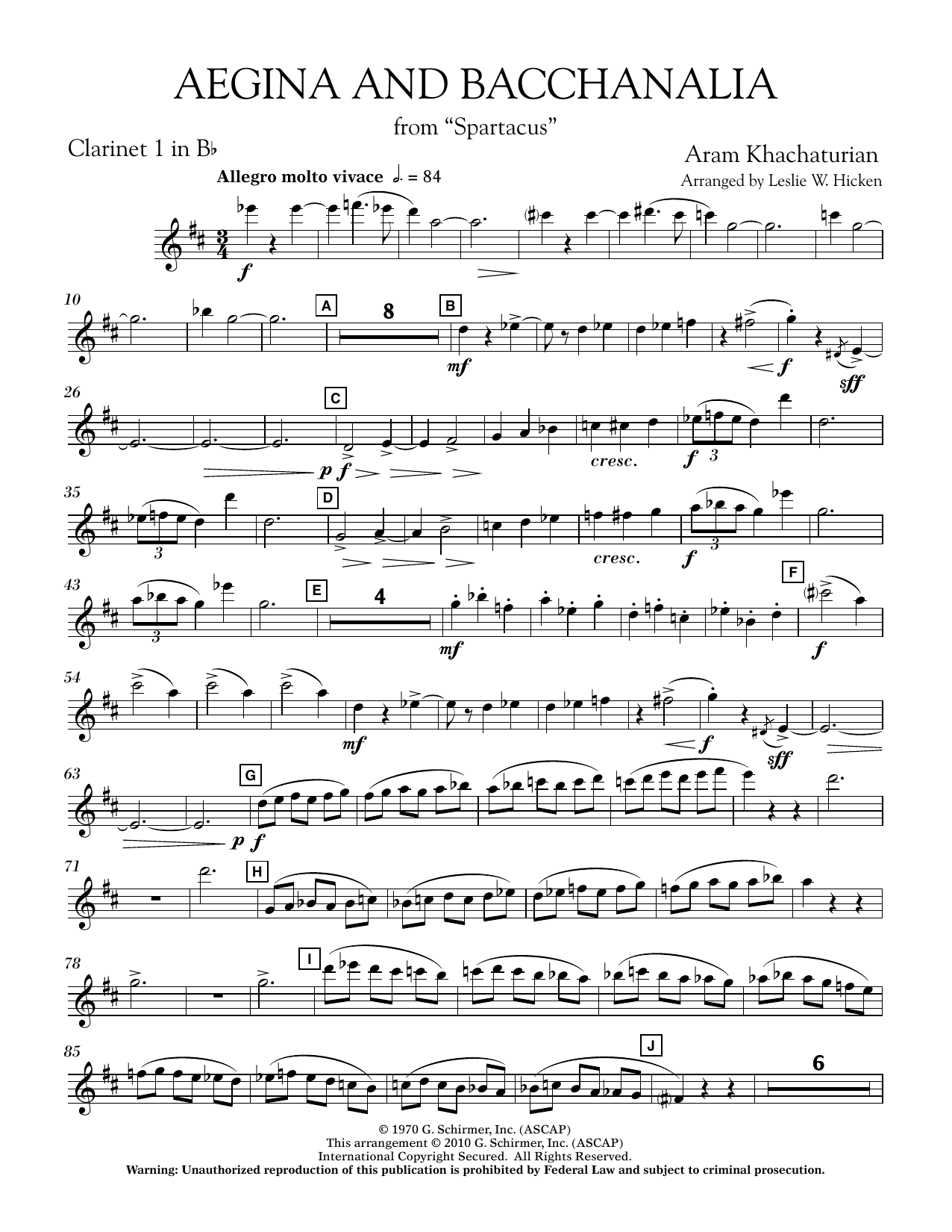 Aegina and Bacchanalia (from Spartacus) - Bb Clarinet 1 (Concert Band)