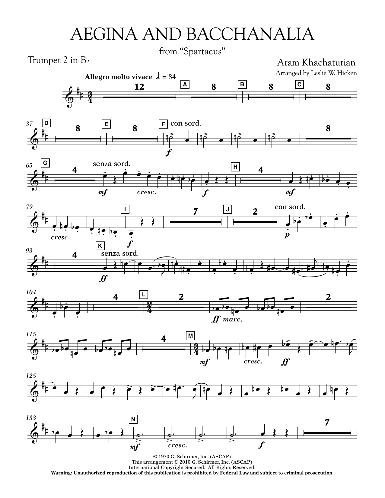 Aegina and Bacchanalia (from Spartacus) - Bb Trumpet 2 (Concert Band)