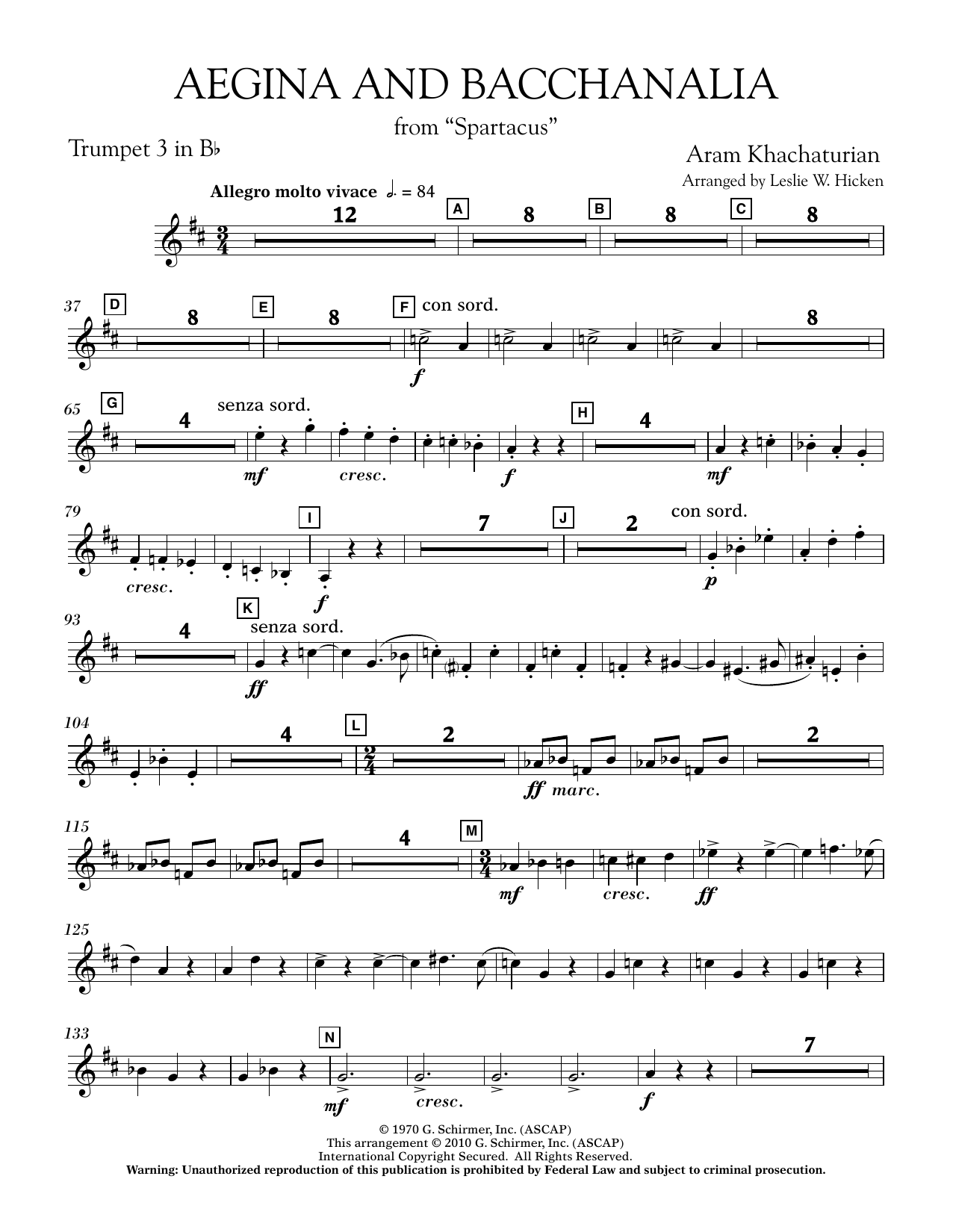Aegina and Bacchanalia (from Spartacus) - Bb Trumpet 3 (Concert Band)