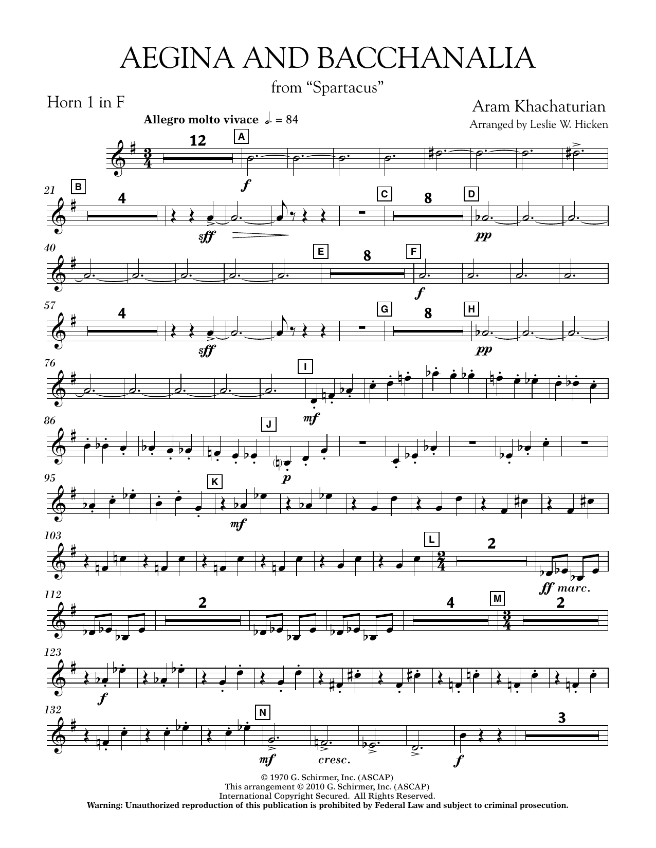 Aegina and Bacchanalia (from Spartacus) - F Horn 1 (Concert Band)