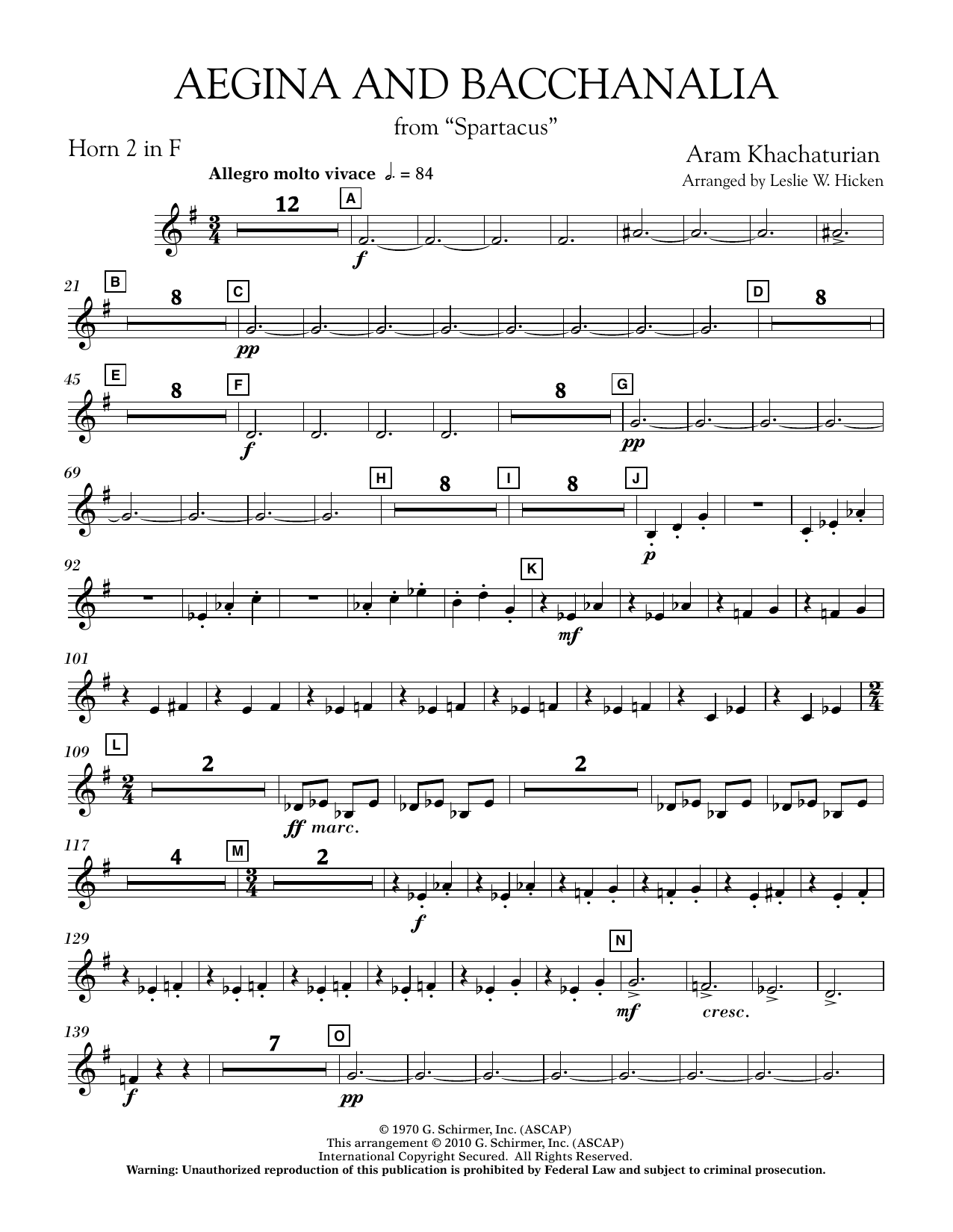 Aegina and Bacchanalia (from Spartacus) - F Horn 2 (Concert Band)