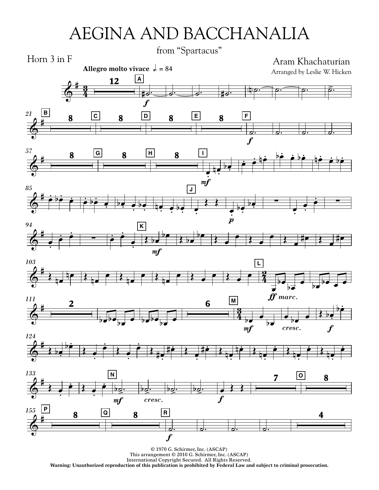 Aegina and Bacchanalia (from Spartacus) - F Horn 3 (Concert Band)