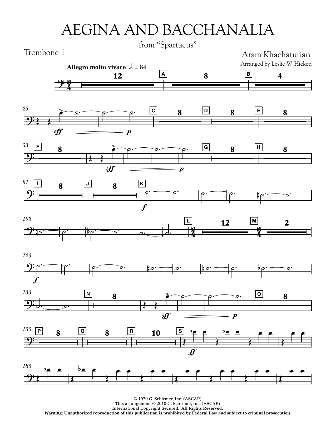 Aegina and Bacchanalia (from Spartacus) - Trombone 1 (Concert Band)
