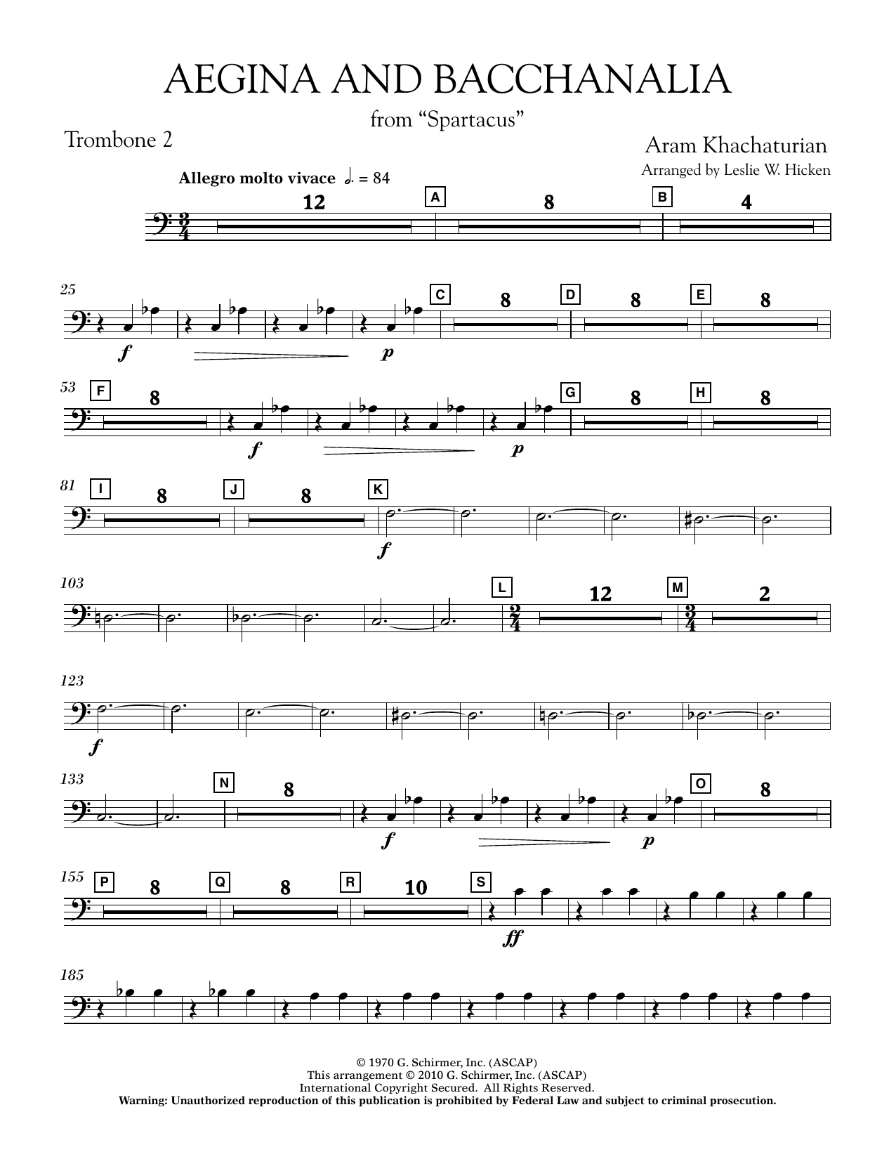 Aegina and Bacchanalia (from Spartacus) - Trombone 2 (Concert Band)