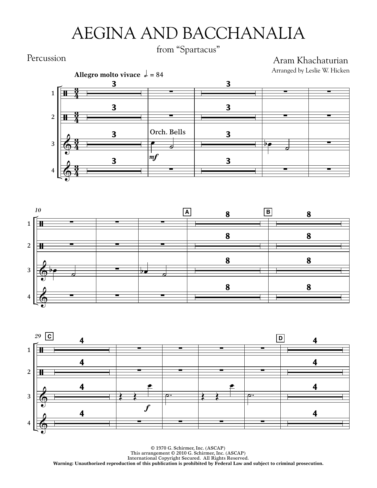 Aegina and Bacchanalia (from Spartacus) - Percussion (Concert Band)
