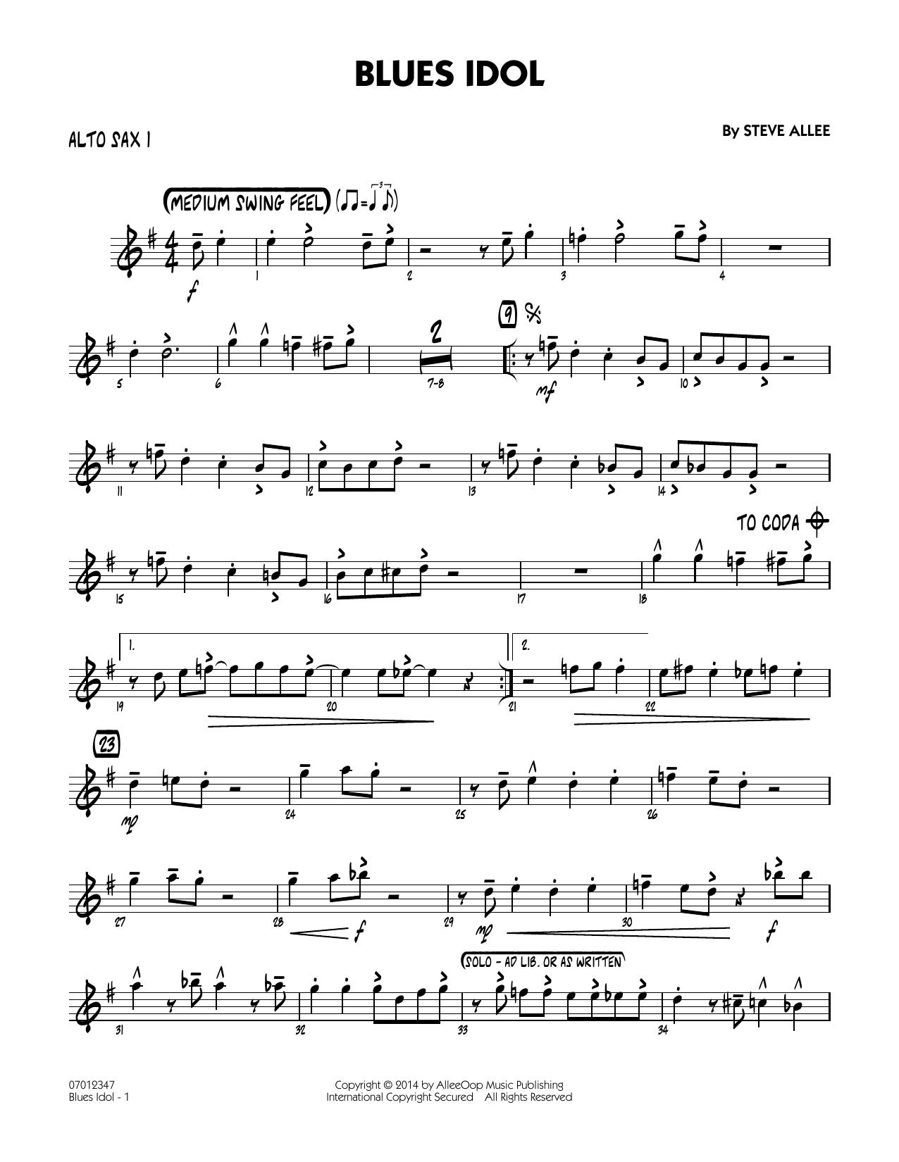 Blues Idol - Alto Sax 1 (Jazz Ensemble)