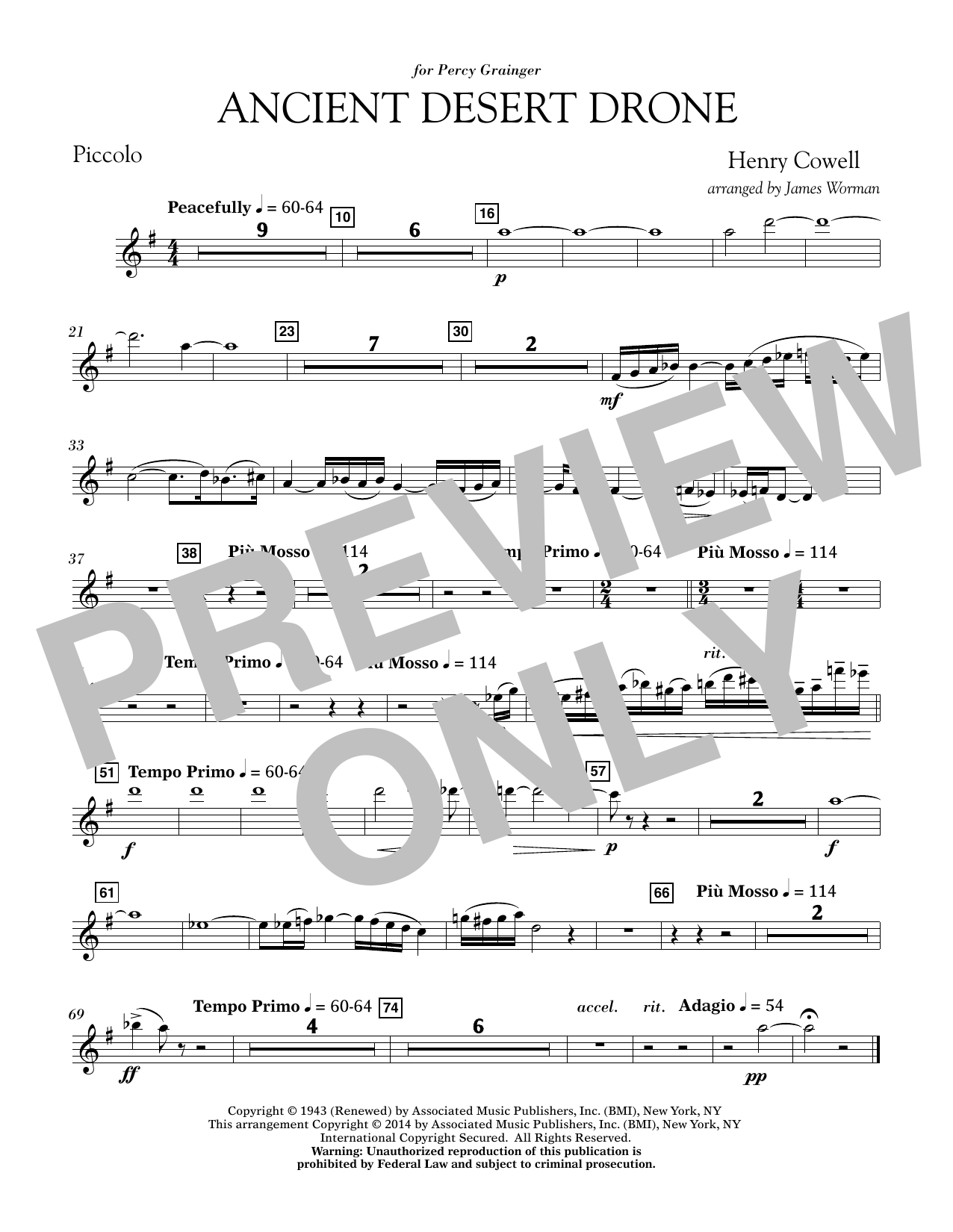 Ancient Desert Drone - Piccolo (Concert Band)