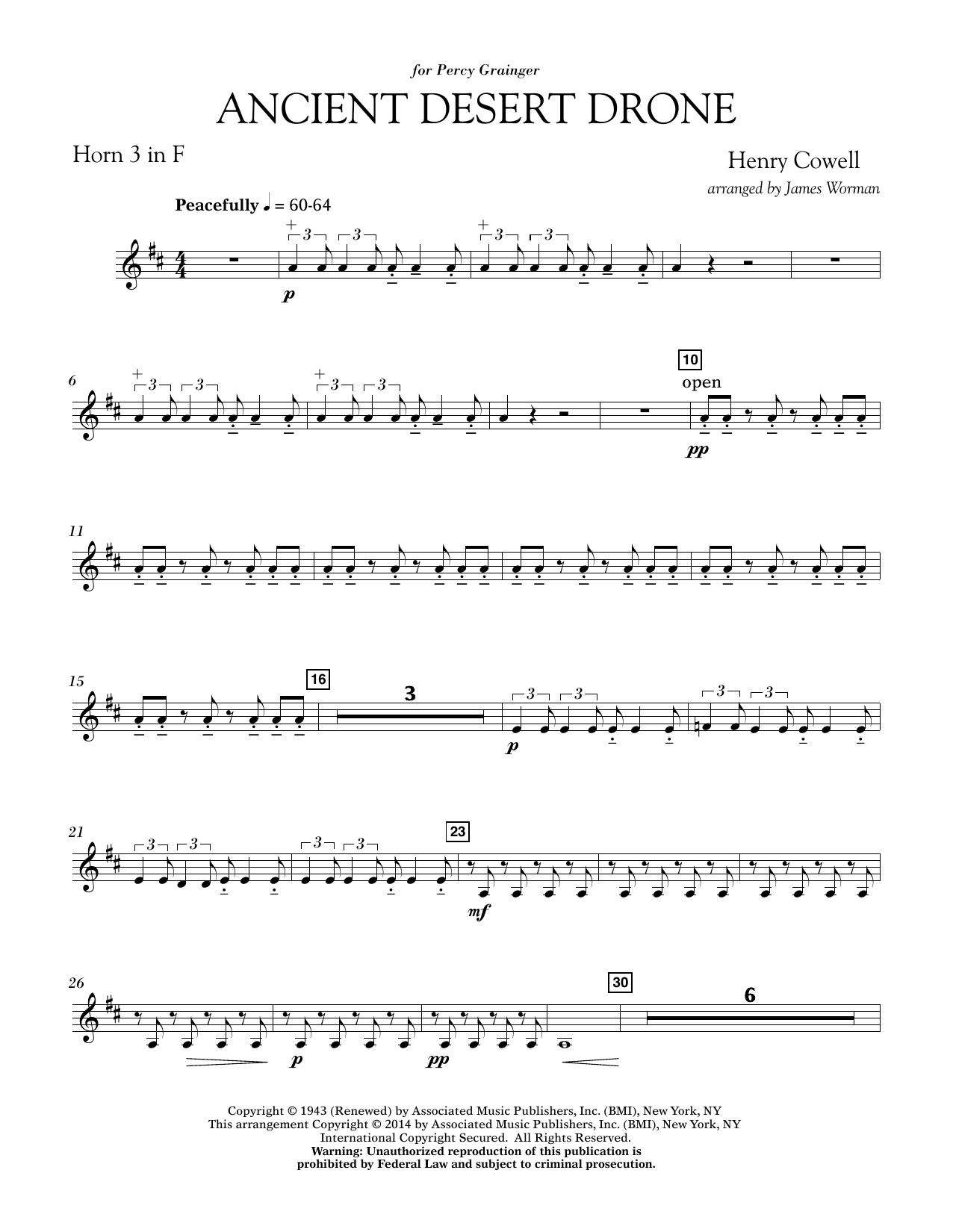 Ancient Desert Drone - F Horn 3 (Concert Band)