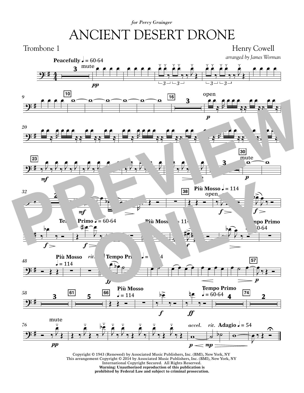 Ancient Desert Drone - Trombone 1 (Concert Band)