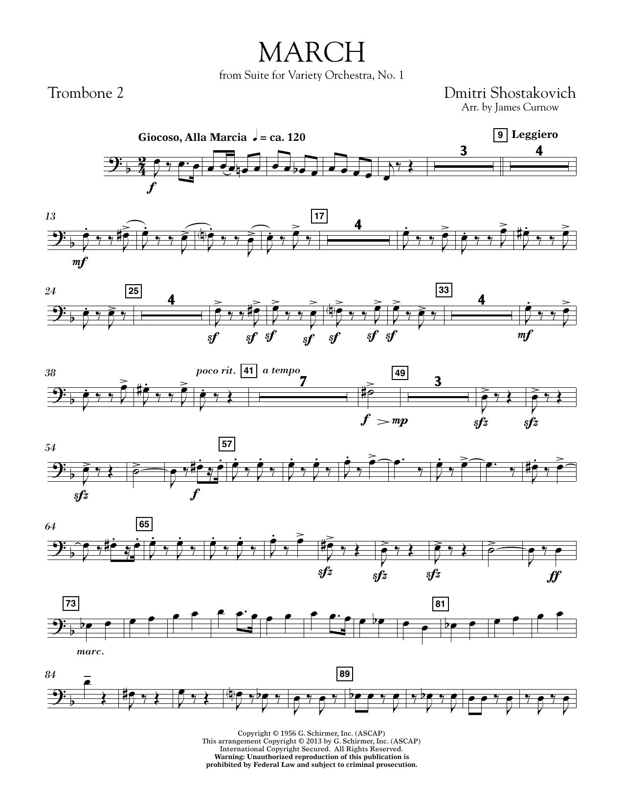 March from Suite for Variety Orchestra, No. 1 - Trombone 2 (Concert Band)