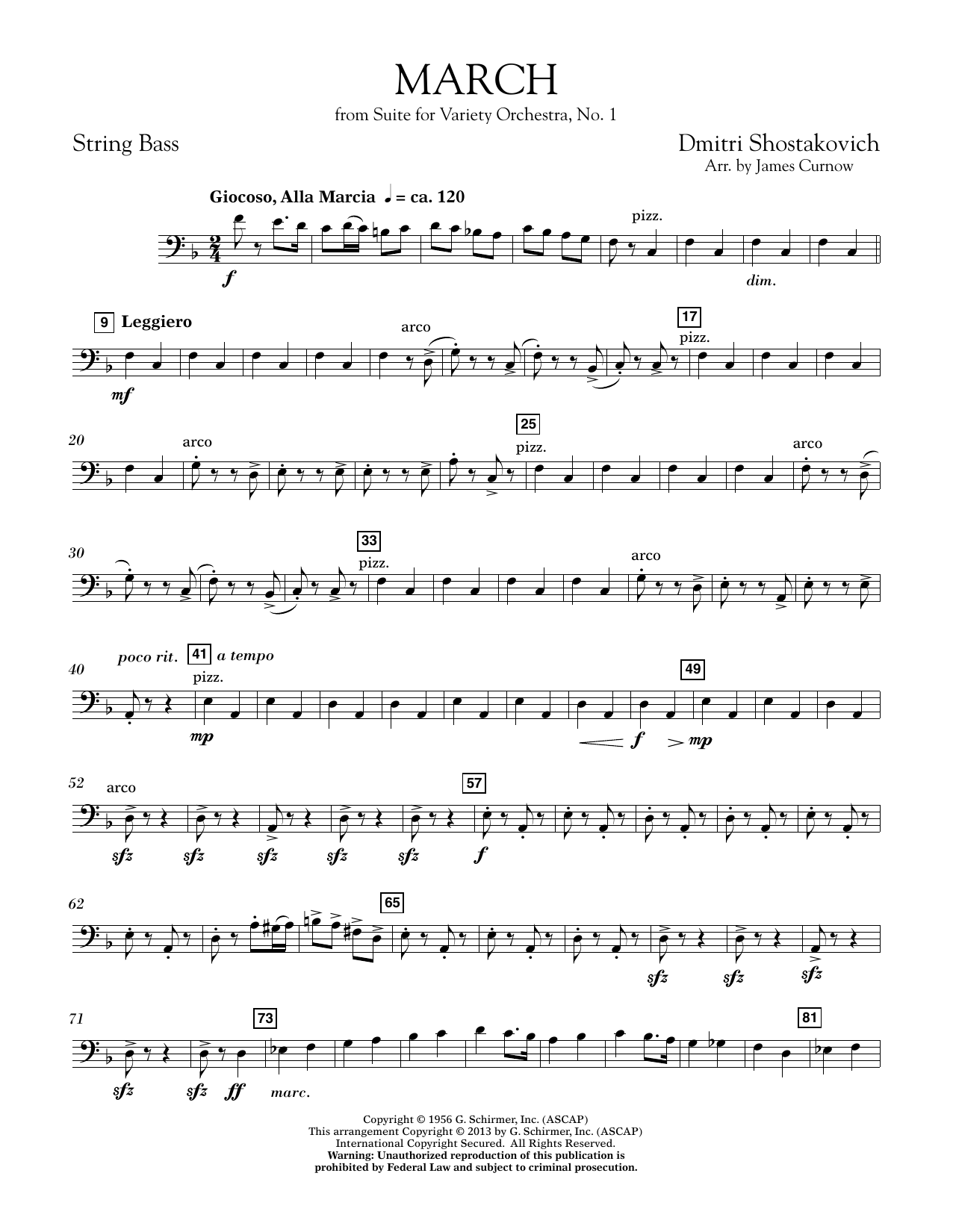 March from Suite for Variety Orchestra, No. 1 - String Bass (Concert Band)