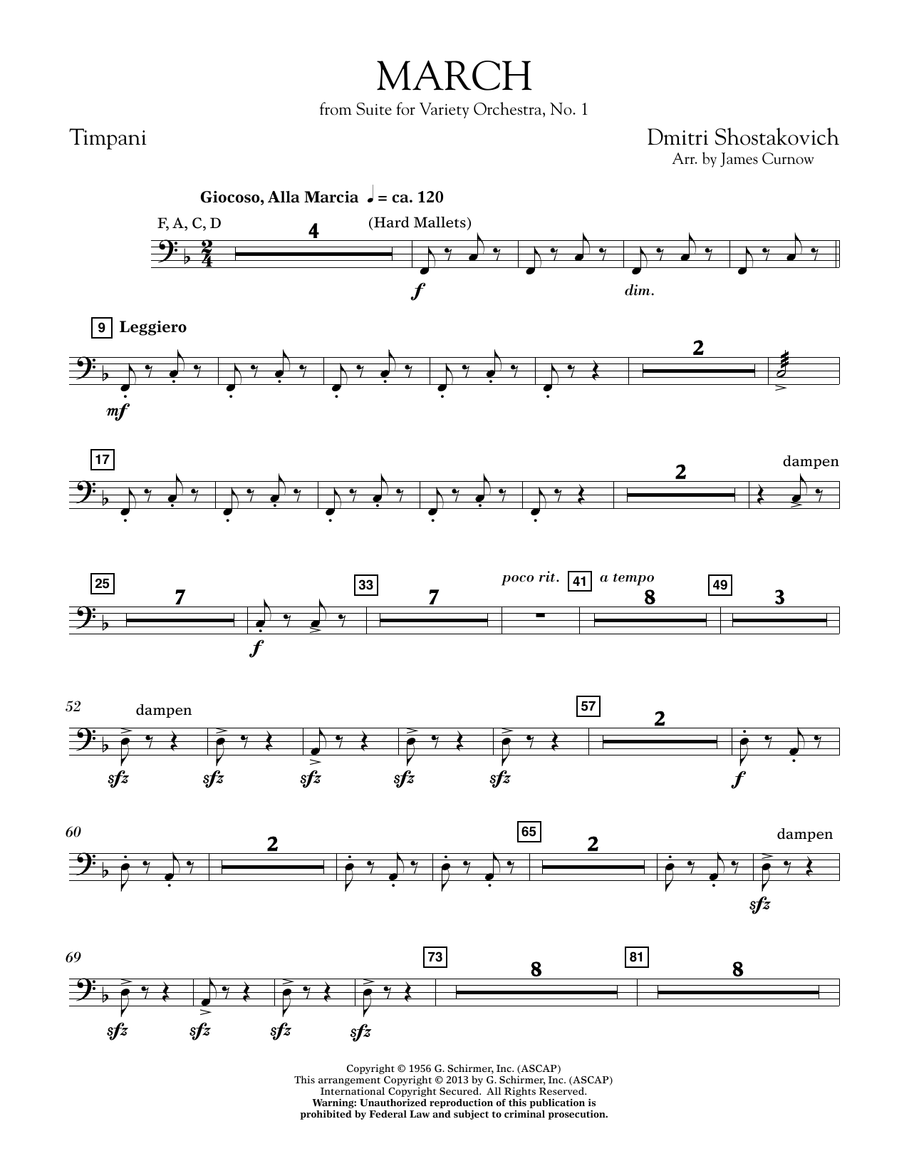 March from Suite for Variety Orchestra, No. 1 - Timpani (Concert Band)