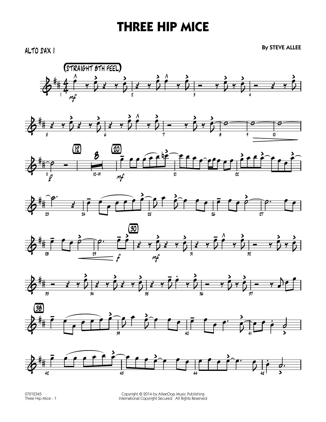 Three Hip Mice - Alto Sax 1 (Jazz Ensemble)