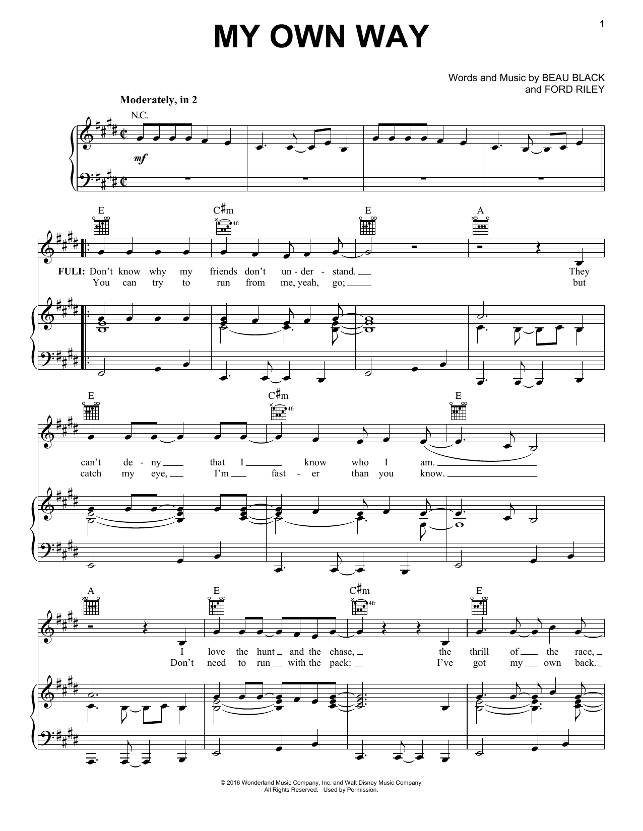 My Own Way Sheet Music