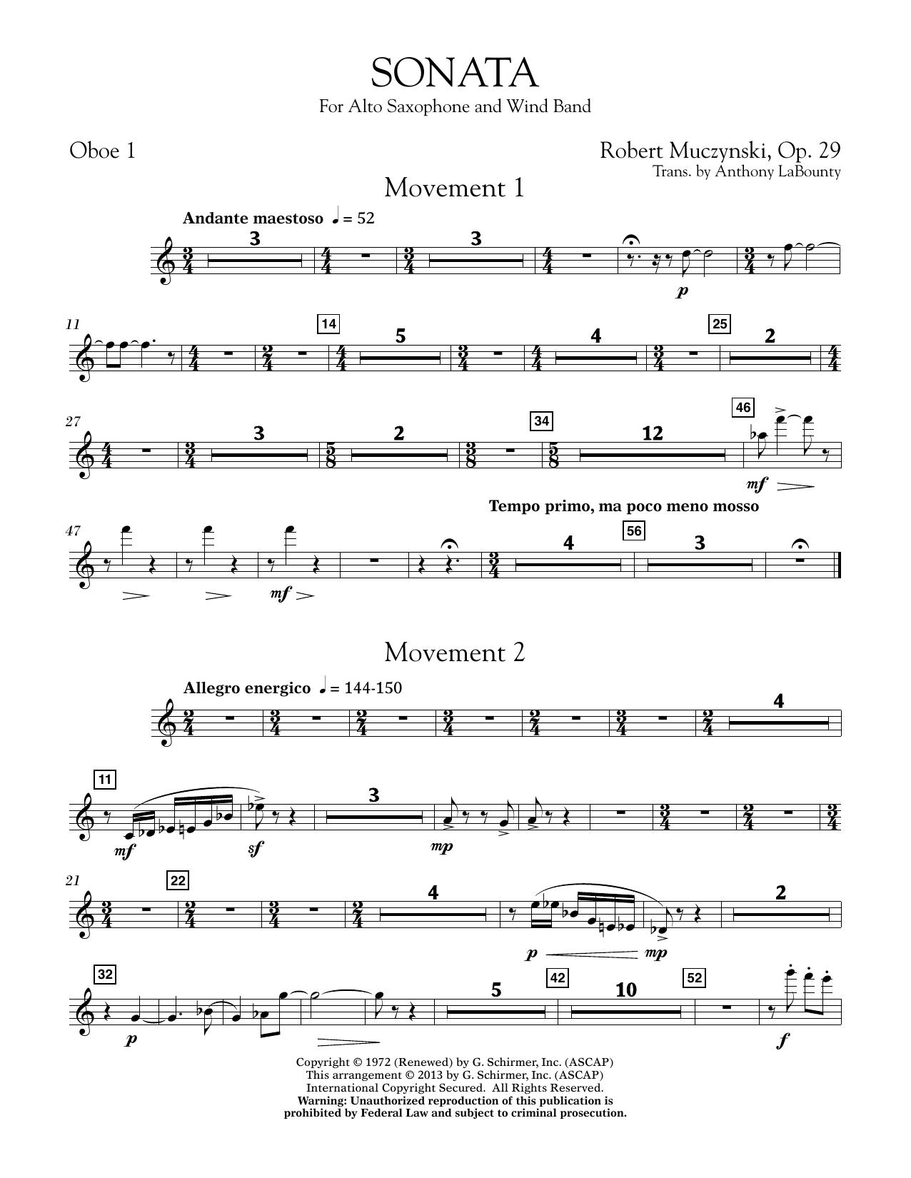 Sonata for Alto Saxophone, Op. 29 - Oboe 1 (Concert Band)