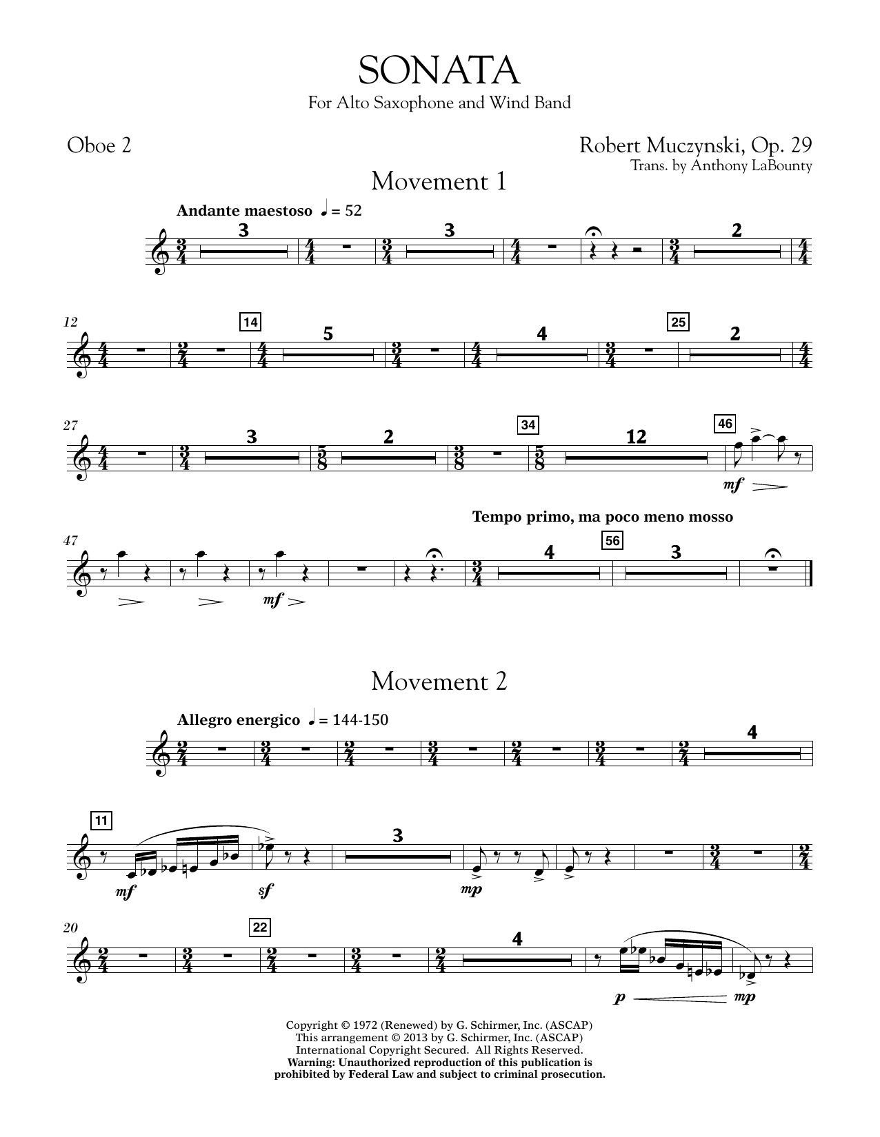 Sonata for Alto Saxophone, Op. 29 - Oboe 2 (Concert Band)