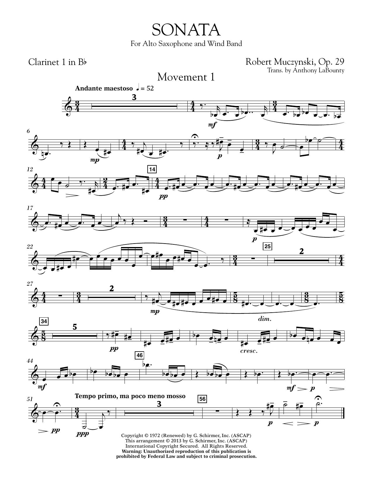 Sonata for Alto Saxophone, Op. 29 - Bb Clarinet 1 (Concert Band)