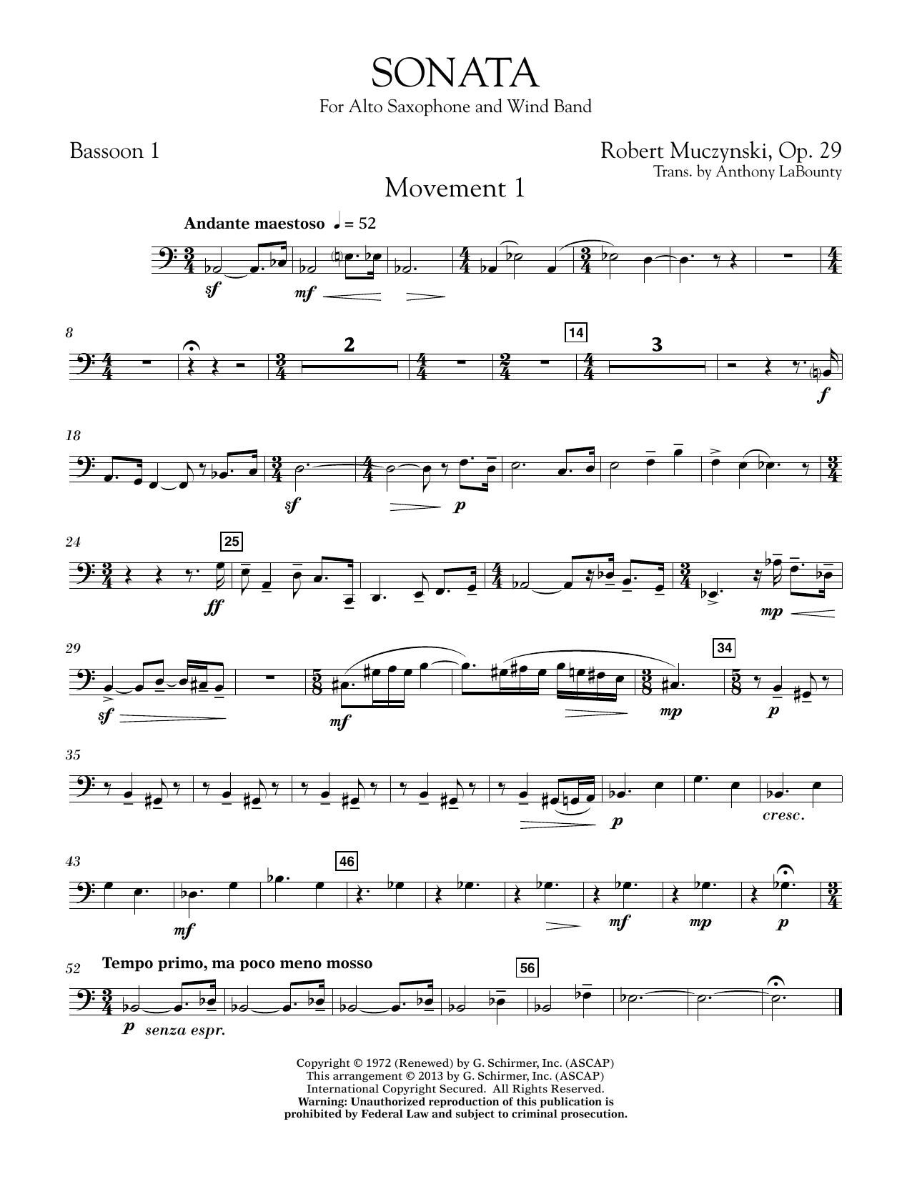 Sonata for Alto Saxophone, Op. 29 - Bassoon 1 (Concert Band)