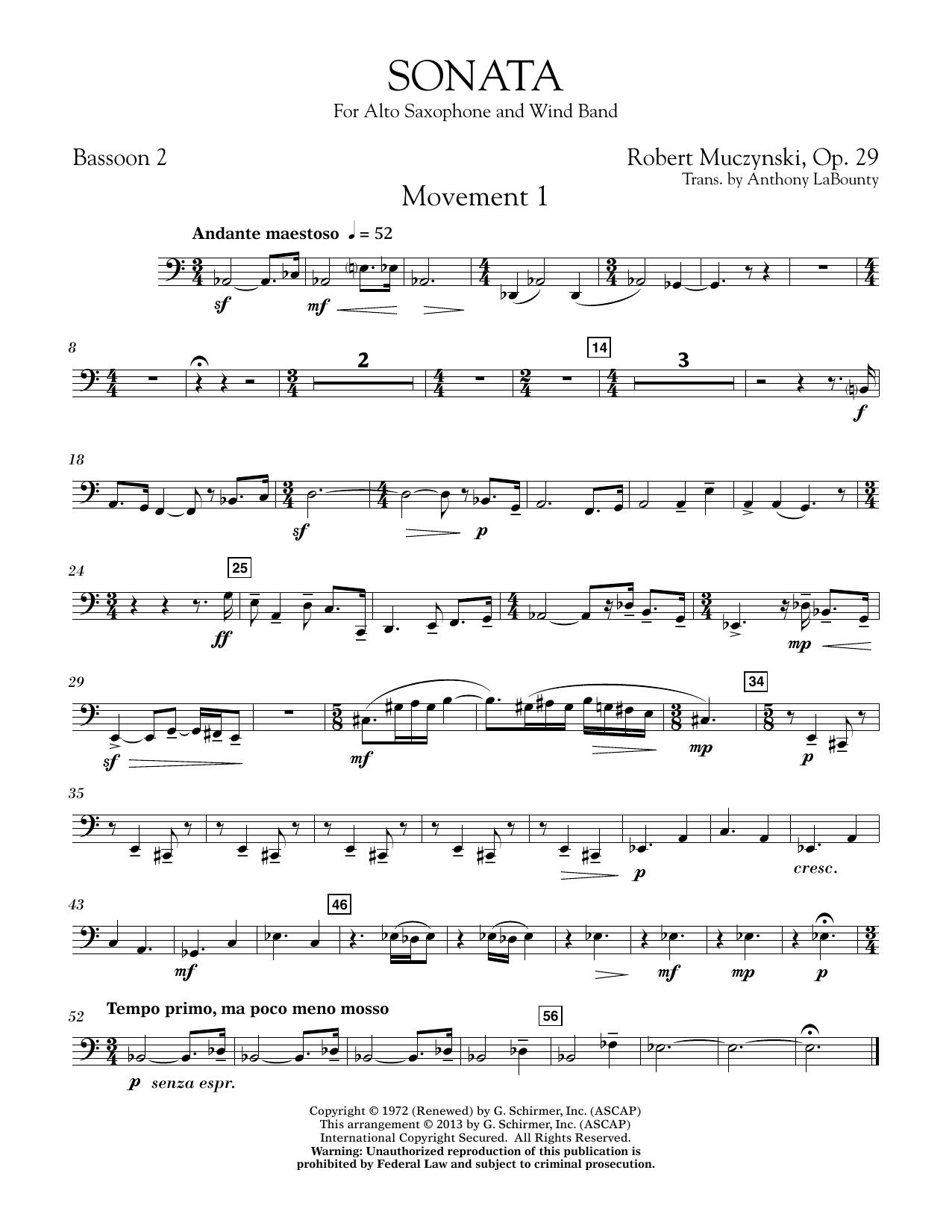 Sonata for Alto Saxophone, Op. 29 - Bassoon 2 (Concert Band)