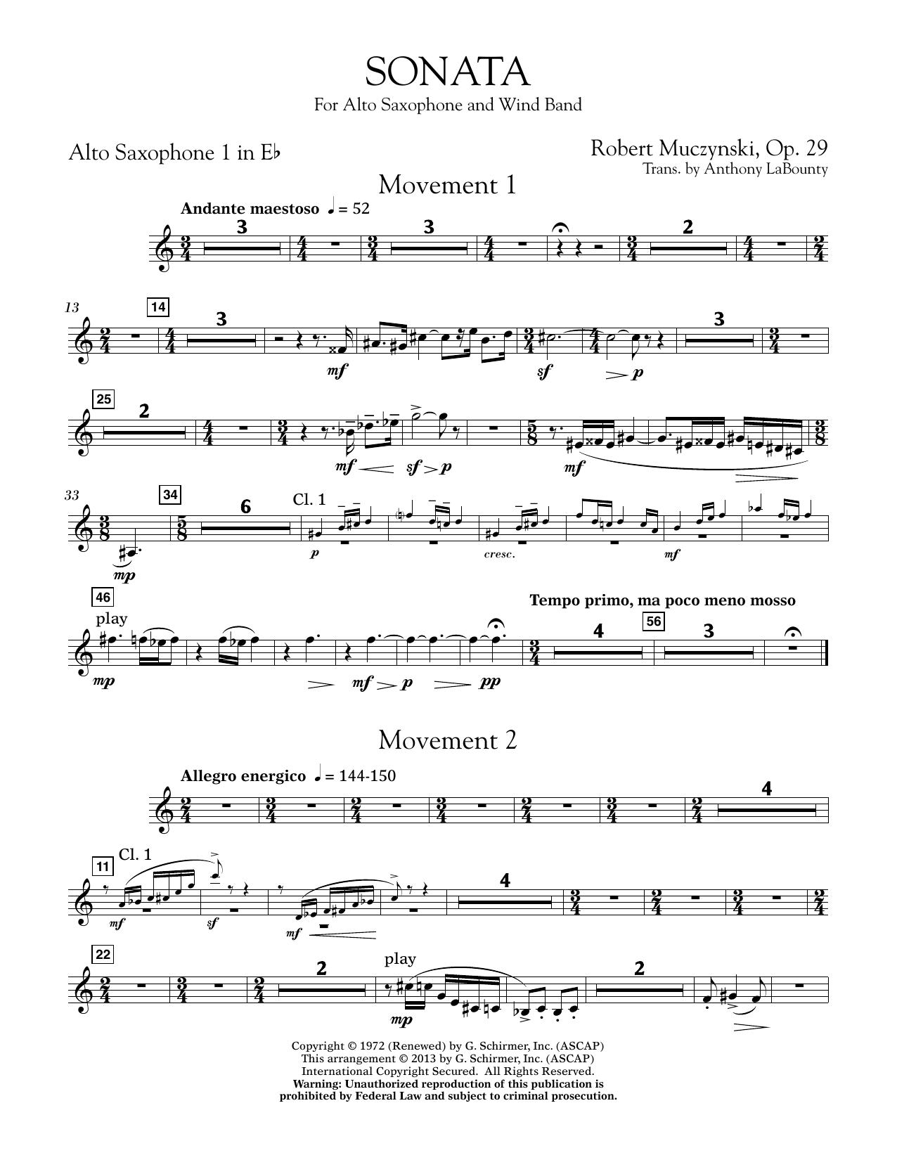 Sonata for Alto Saxophone, Op. 29 - Eb Alto Saxophone 1 (Concert Band)