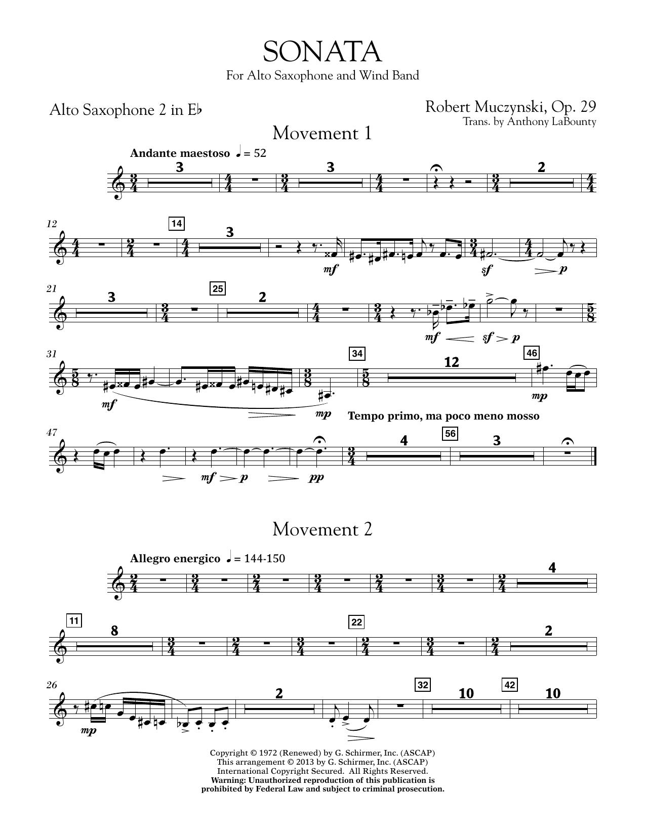 Sonata for Alto Saxophone, Op. 29 - Eb Alto Saxophone 2 (Concert Band)