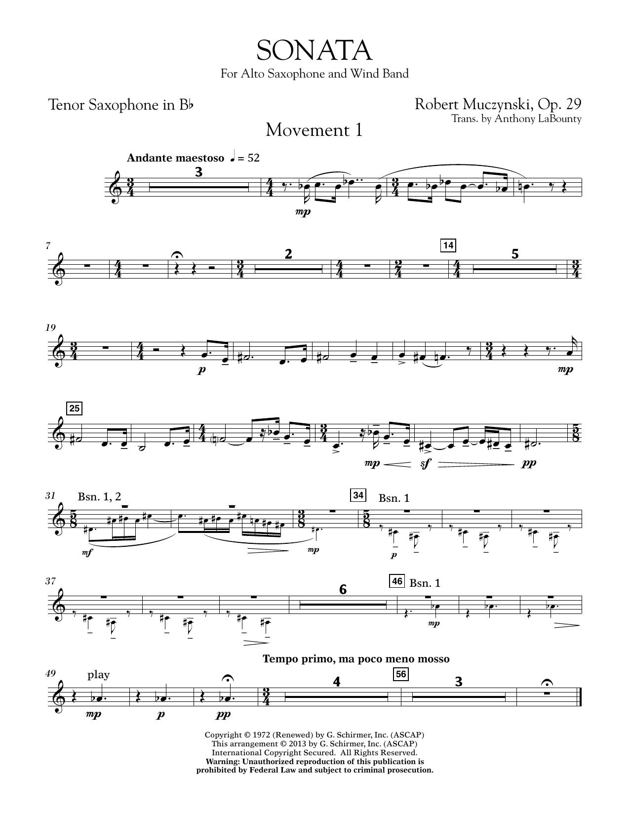 Sonata for Alto Saxophone, Op. 29 - Bb Tenor Saxophone (Concert Band)