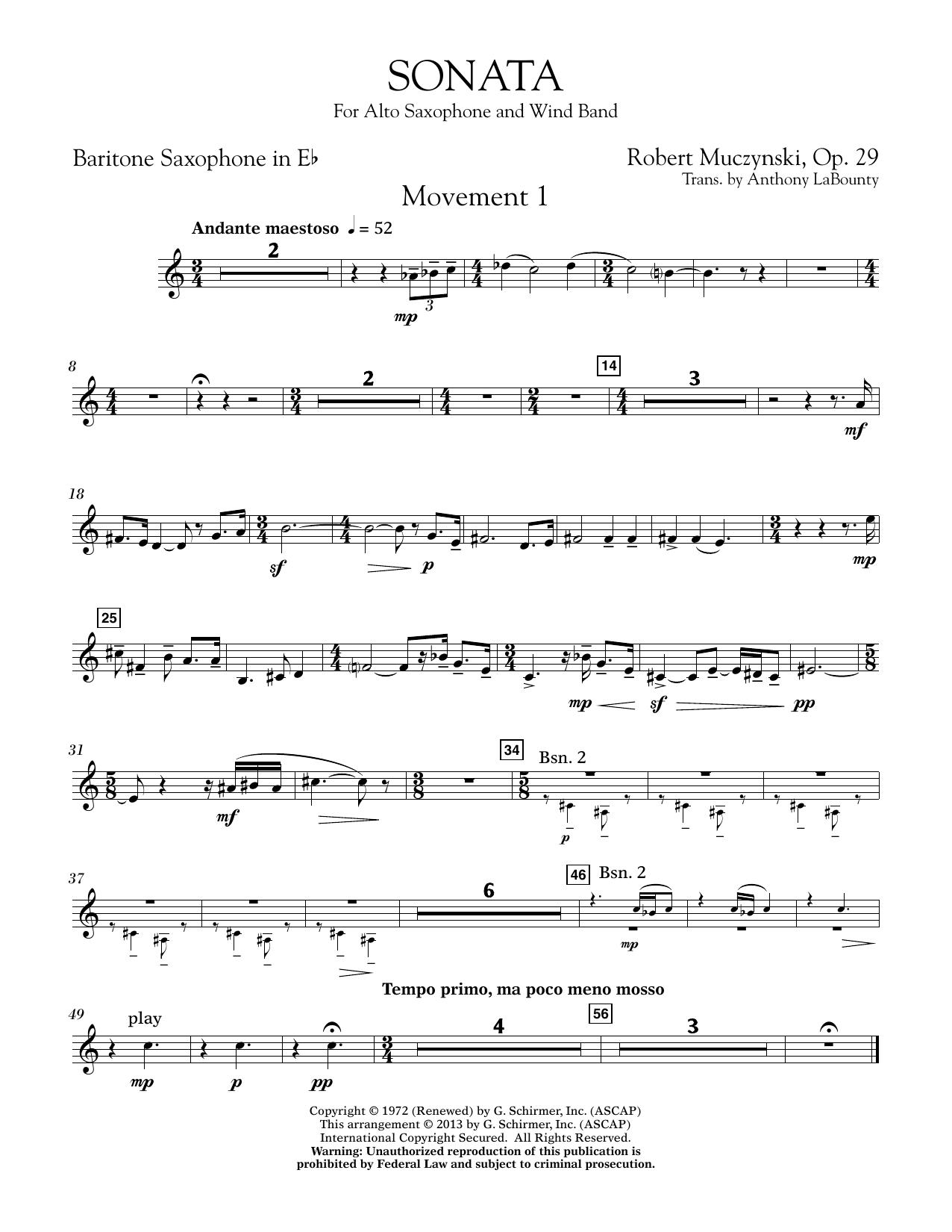 Sonata for Alto Saxophone, Op. 29 - Eb Baritone Saxophone (Concert Band)