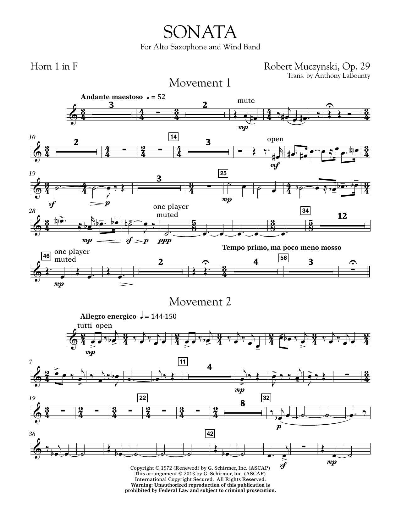 Sonata for Alto Saxophone, Op. 29 - F Horn 1 (Concert Band)
