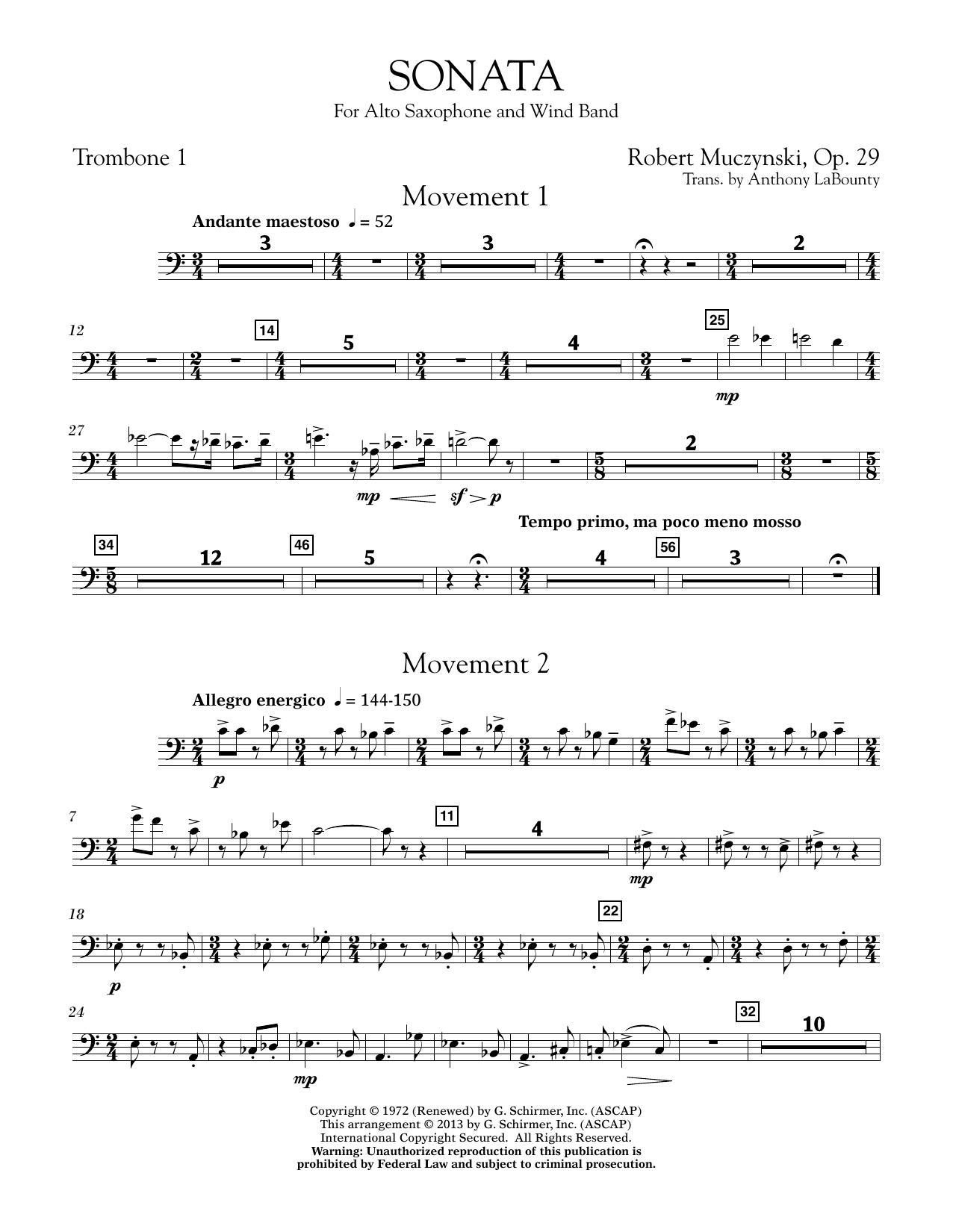 Sonata for Alto Saxophone, Op. 29 - Trombone 1 (Concert Band)