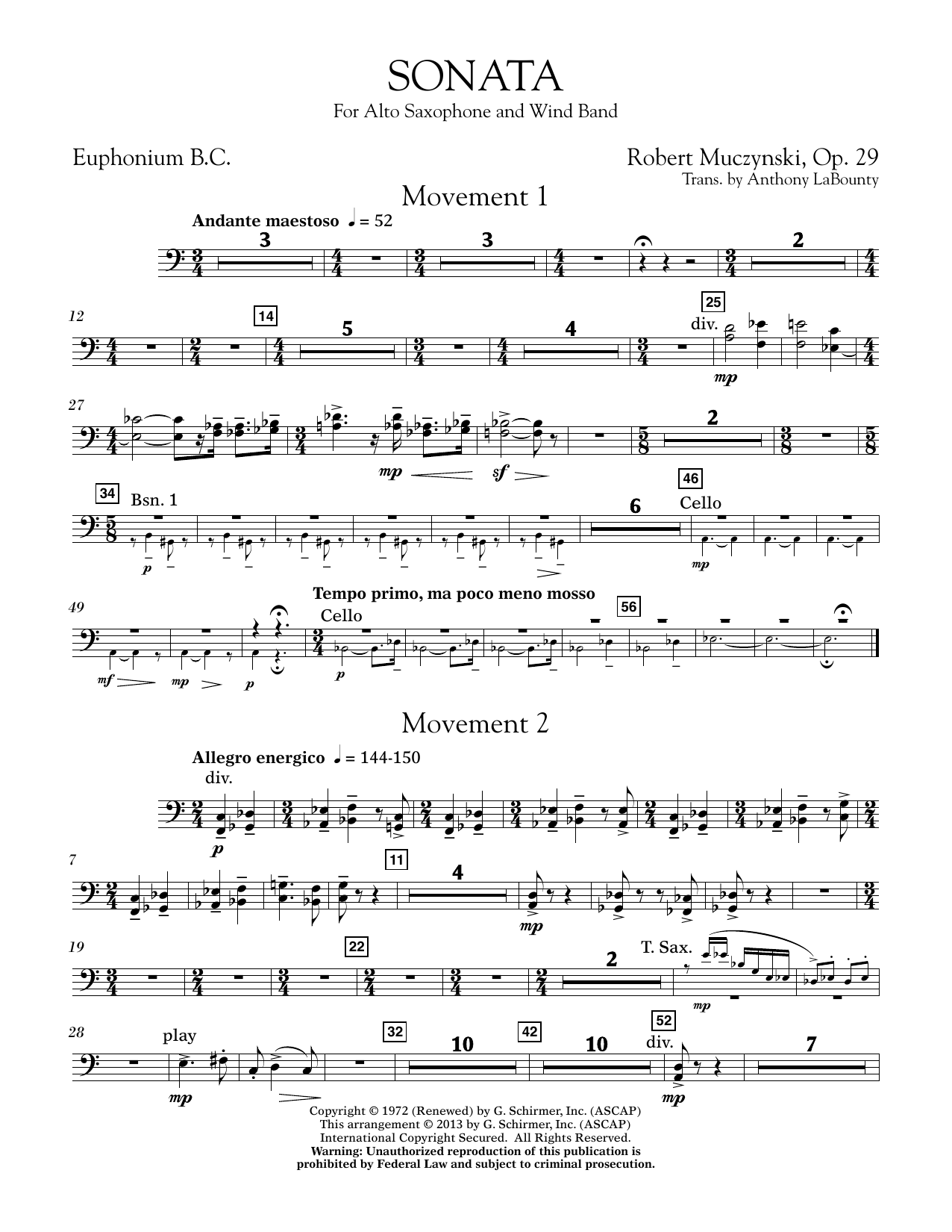 Sonata for Alto Saxophone, Op. 29 - Euphonium in Bass Clef (Concert Band)