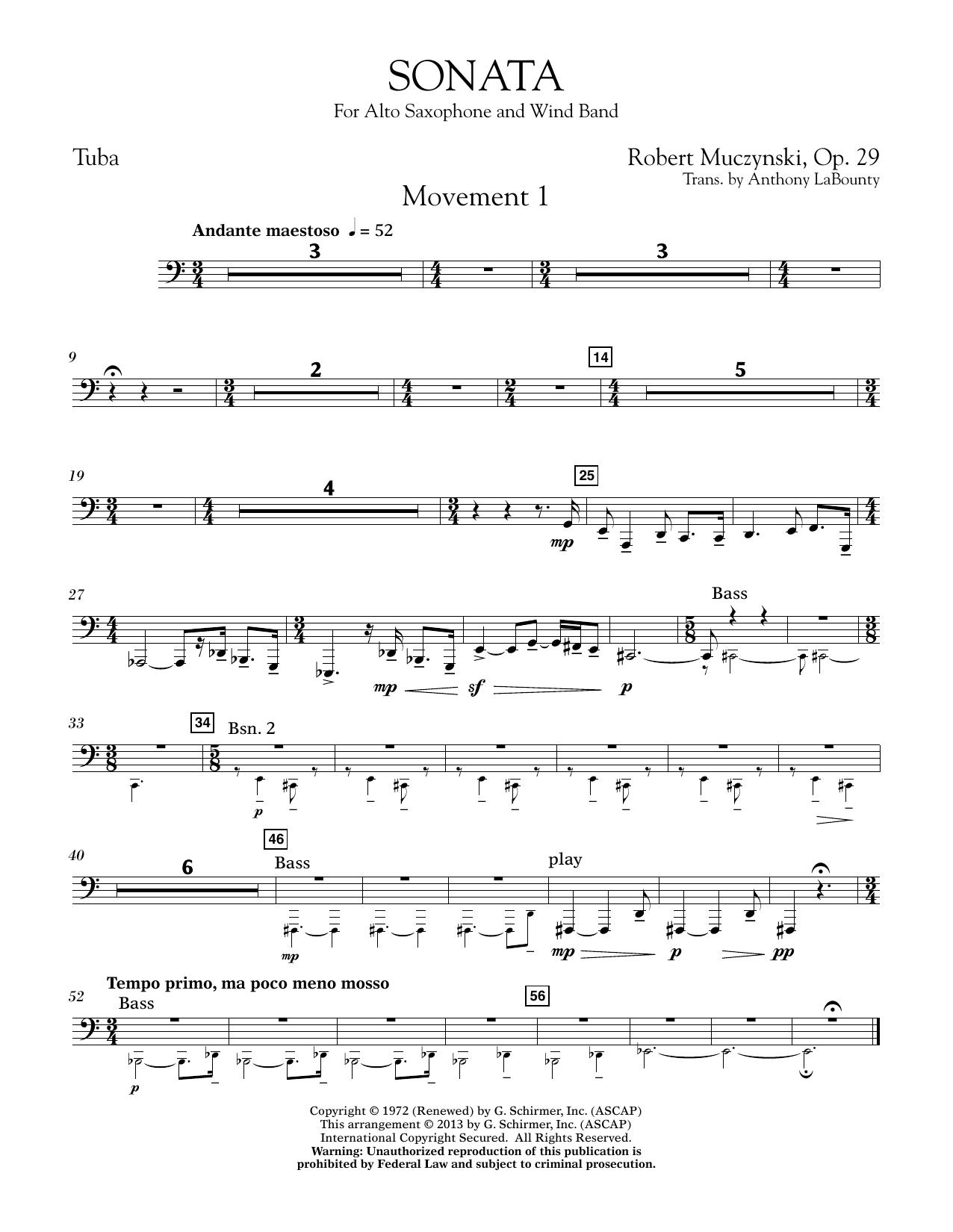 Sonata for Alto Saxophone, Op. 29 - Tuba (Concert Band)