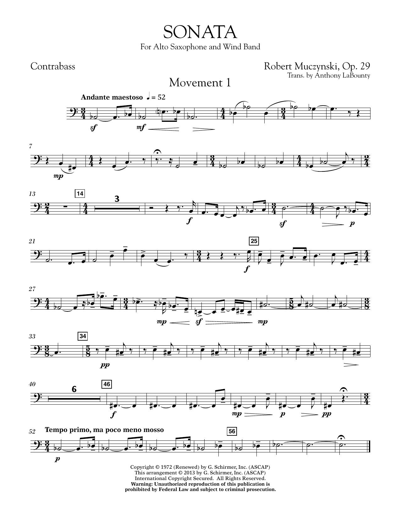 Sonata for Alto Saxophone, Op. 29 - Contrabass (Concert Band)