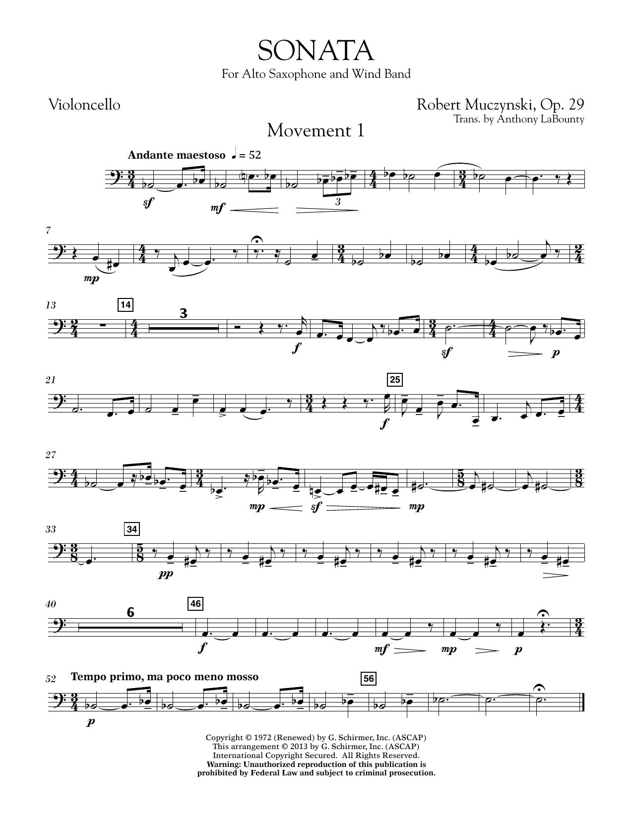 Sonata for Alto Saxophone, Op. 29 - Violincello (Concert Band)