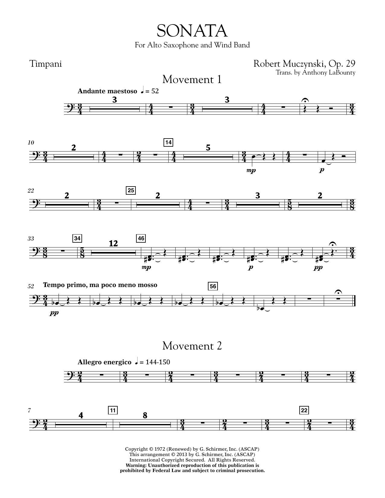 Sonata for Alto Saxophone, Op. 29 - Timpani (Concert Band)