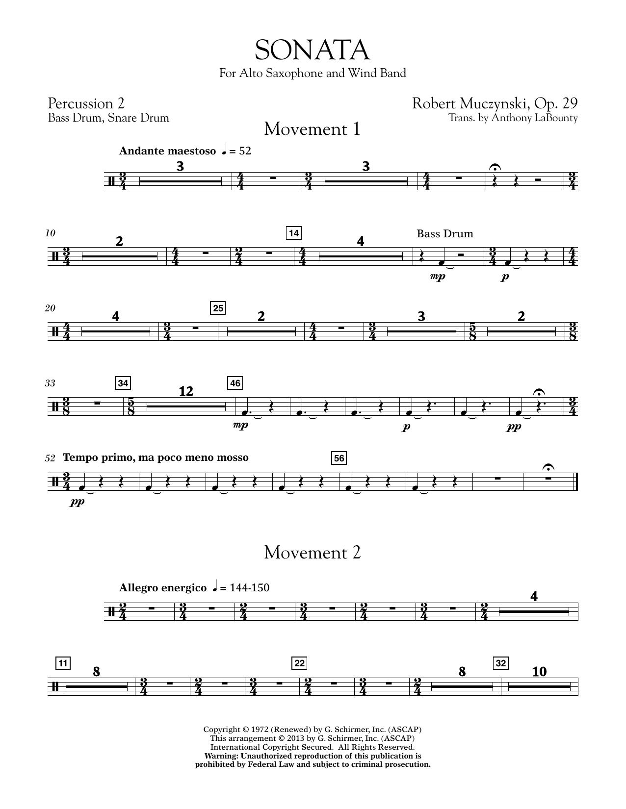 Sonata for Alto Saxophone, Op. 29 - Percussion 2 (Concert Band)
