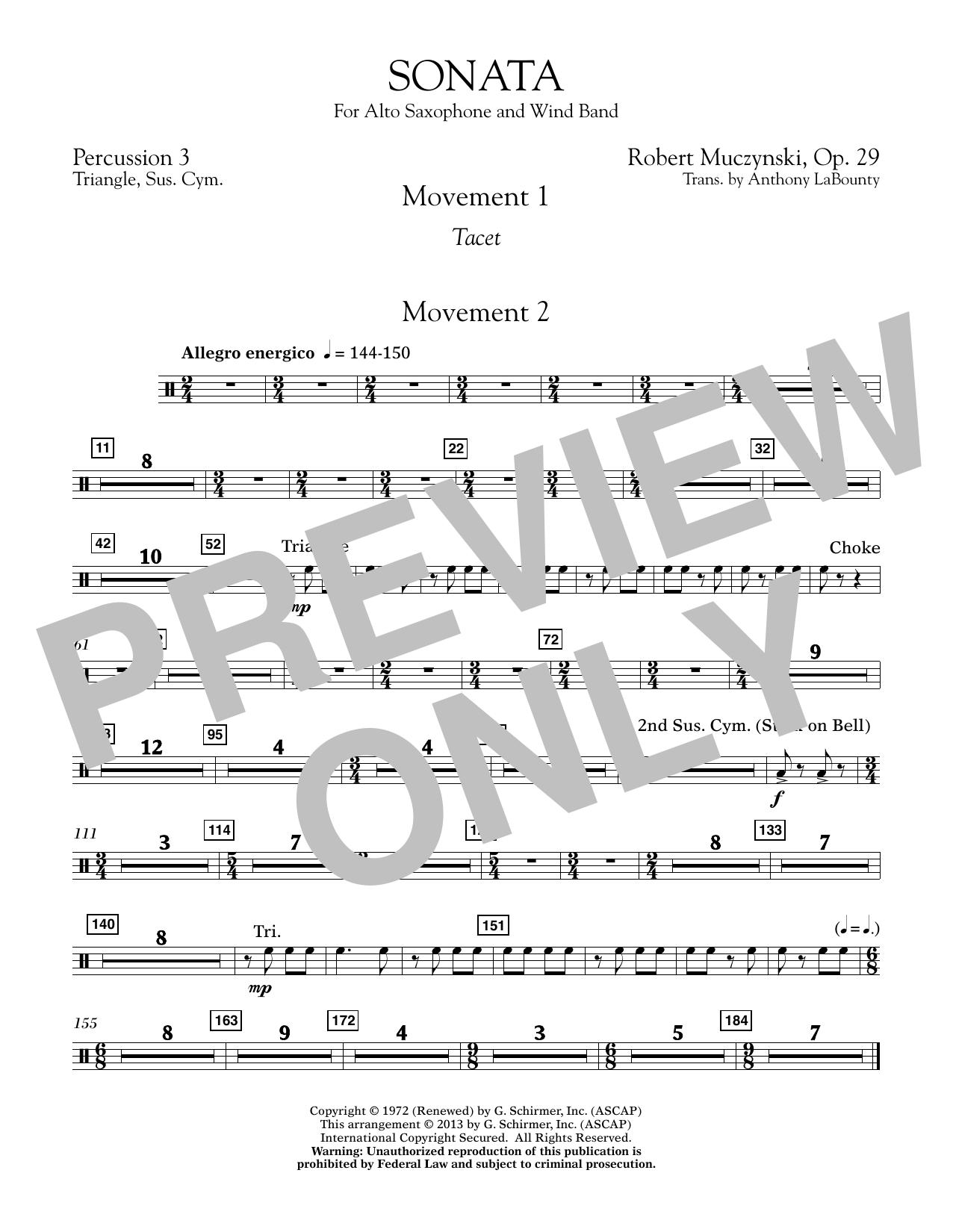 Sonata for Alto Saxophone, Op. 29 - Percussion 3 (Concert Band)