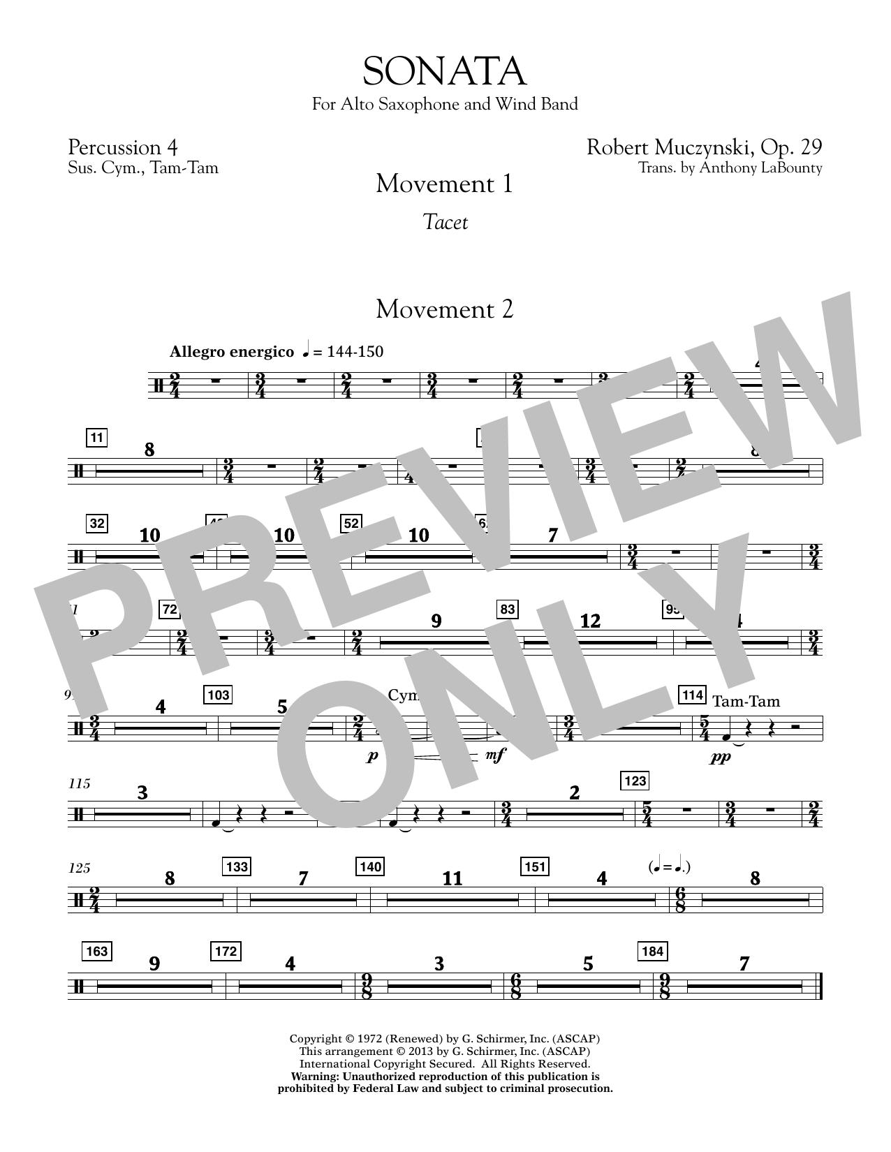 Sonata for Alto Saxophone, Op. 29 - Percussion 4 (Concert Band)